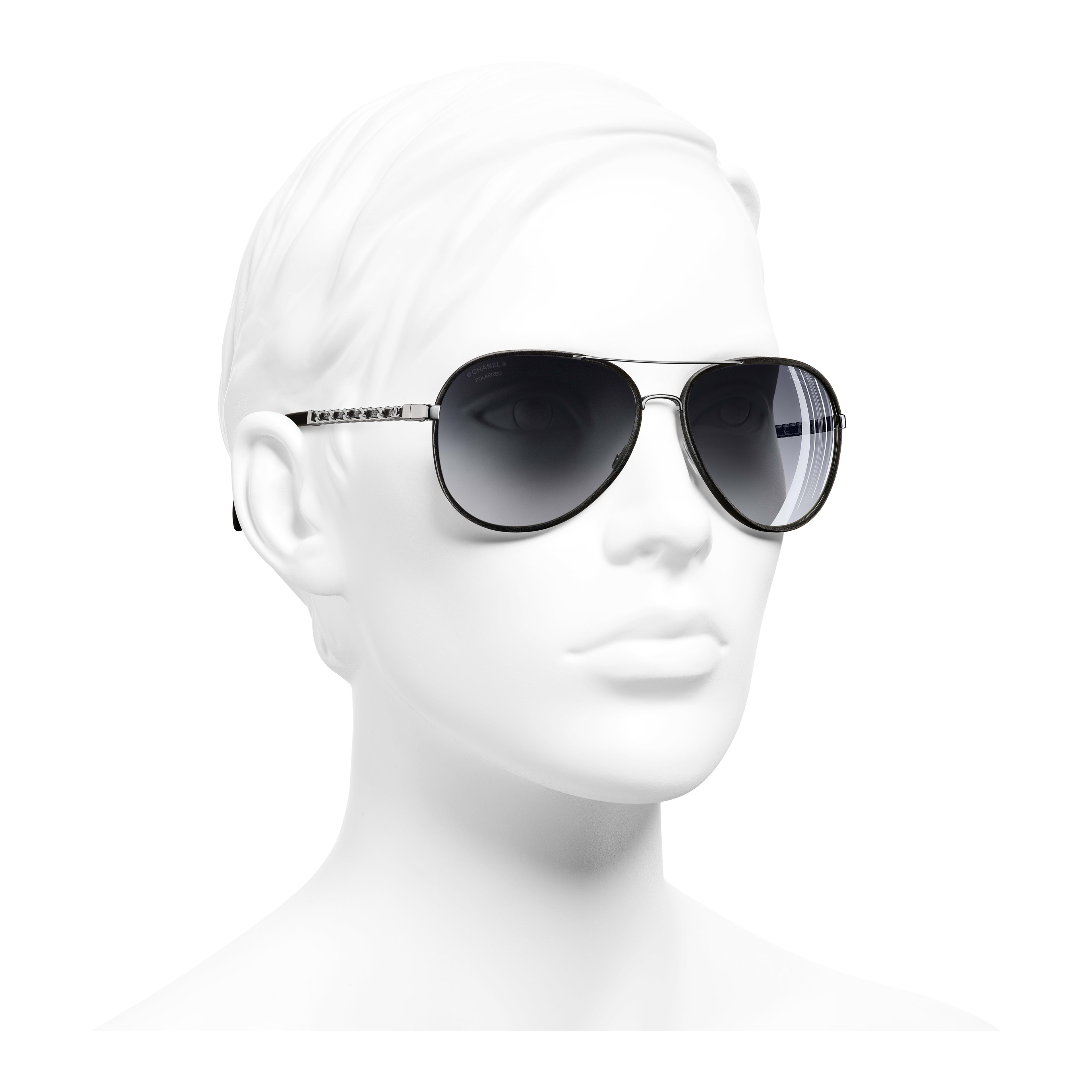 Pilot Sunglasses - Black - Metal & Calfskin - Polarized Lenses - Worn 3/4 view - see full sized version