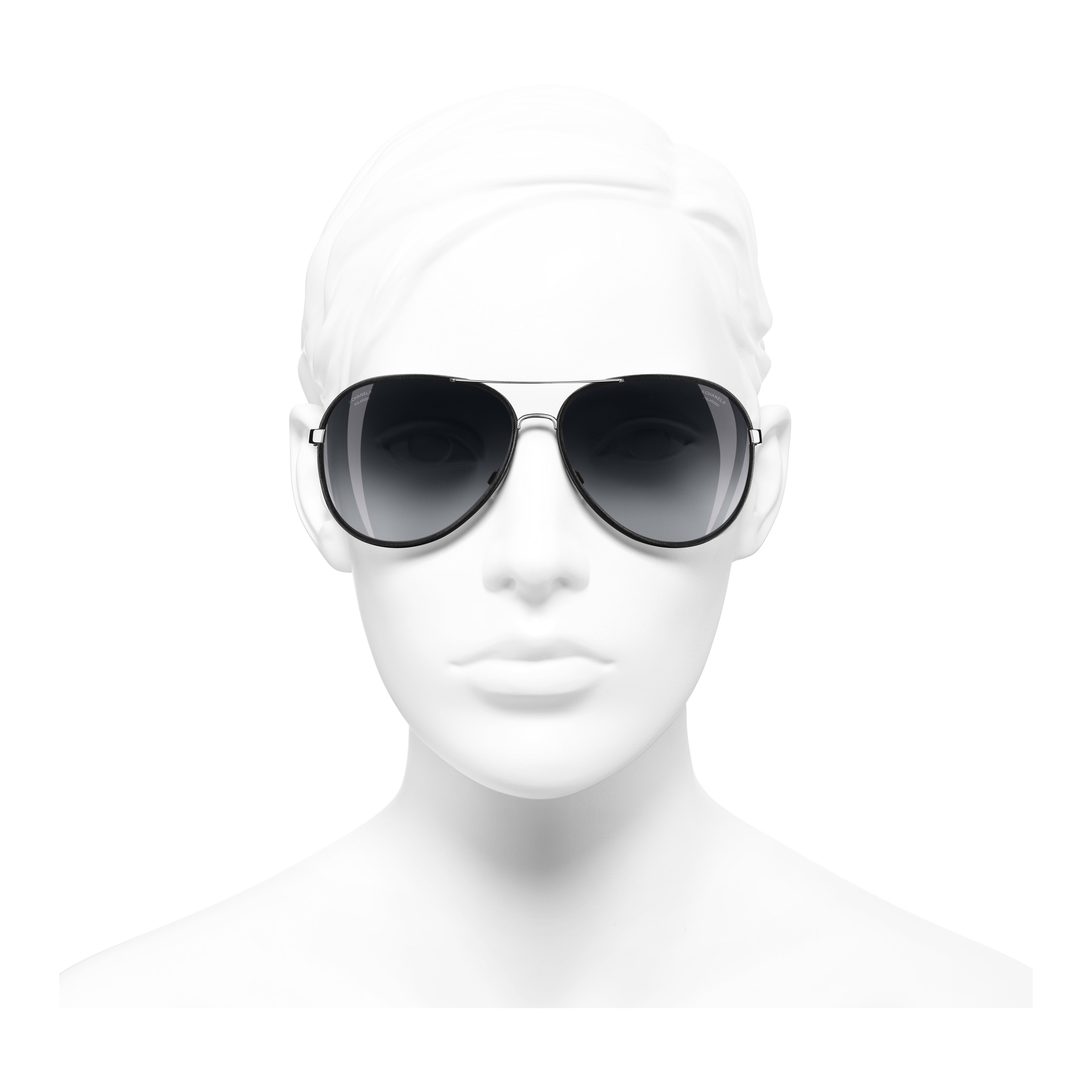 Pilot Sunglasses - Black - Metal & Calfskin - Polarized Lenses - Worn front view - see full sized version