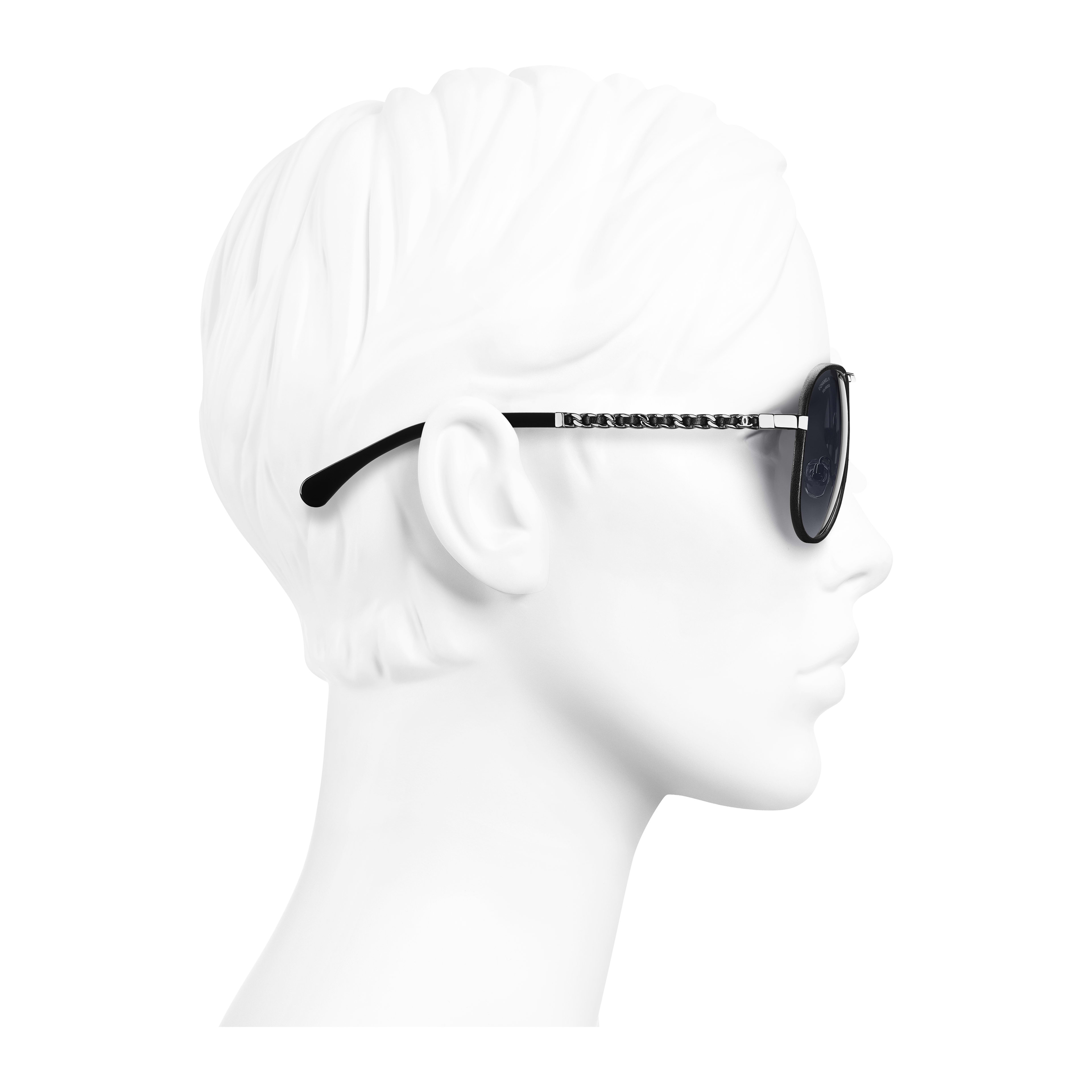 Pilot Sunglasses - Black - Metal & Calfskin - Polarized Lenses - Worn side view - see full sized version