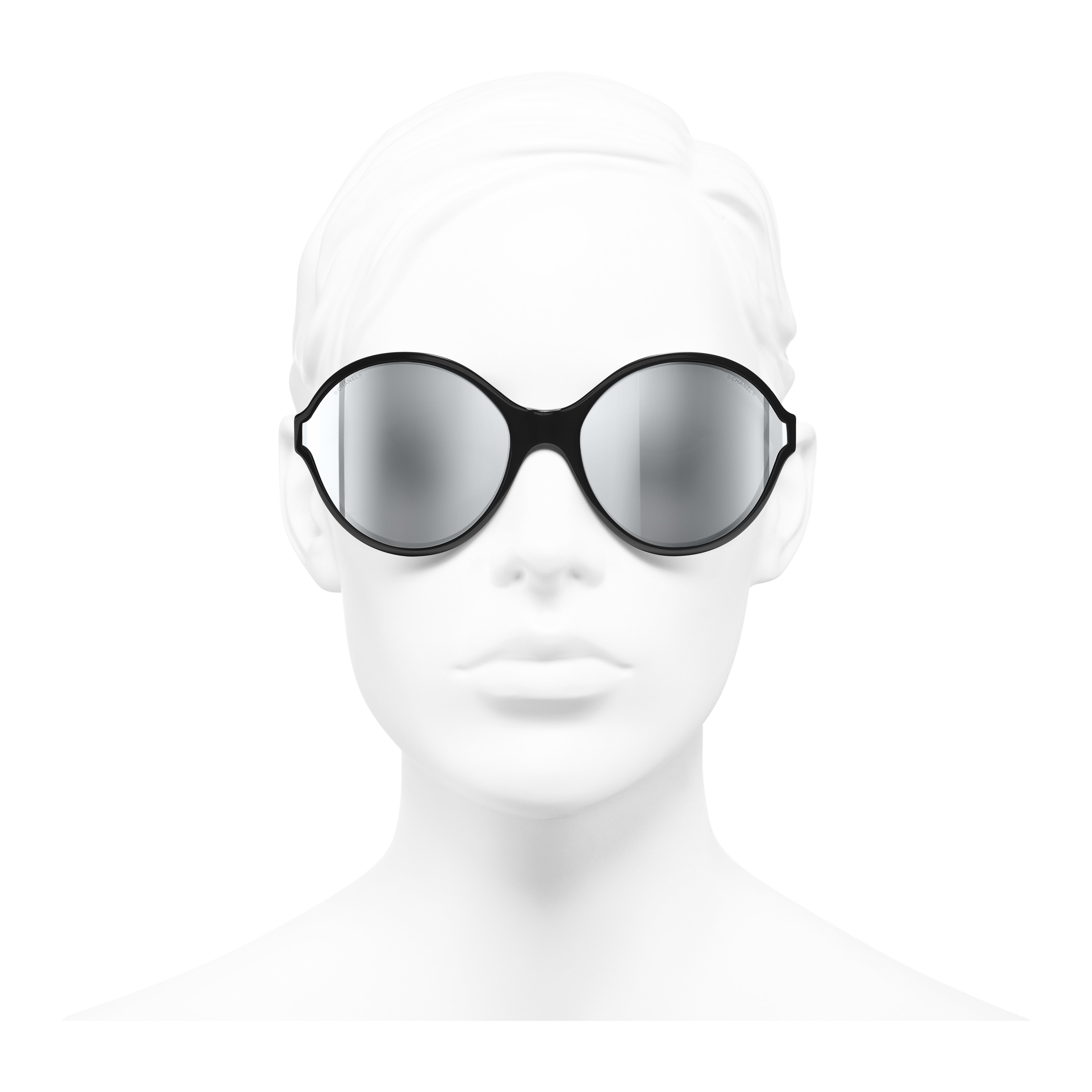 Round Sunglasses - Black - Acetate - Worn front view - see full sized version