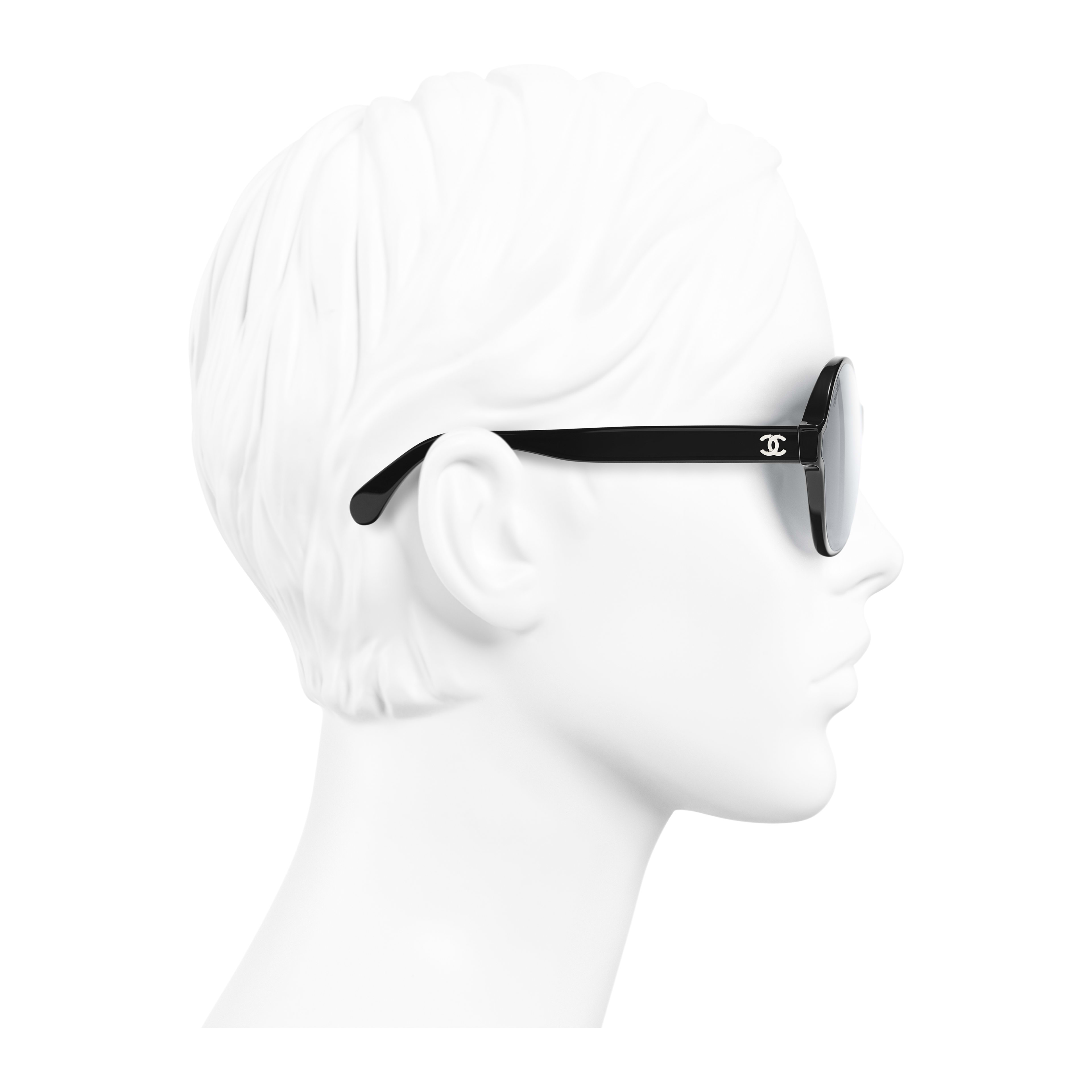 Round Sunglasses - Black - Acetate - Worn side view - see full sized version