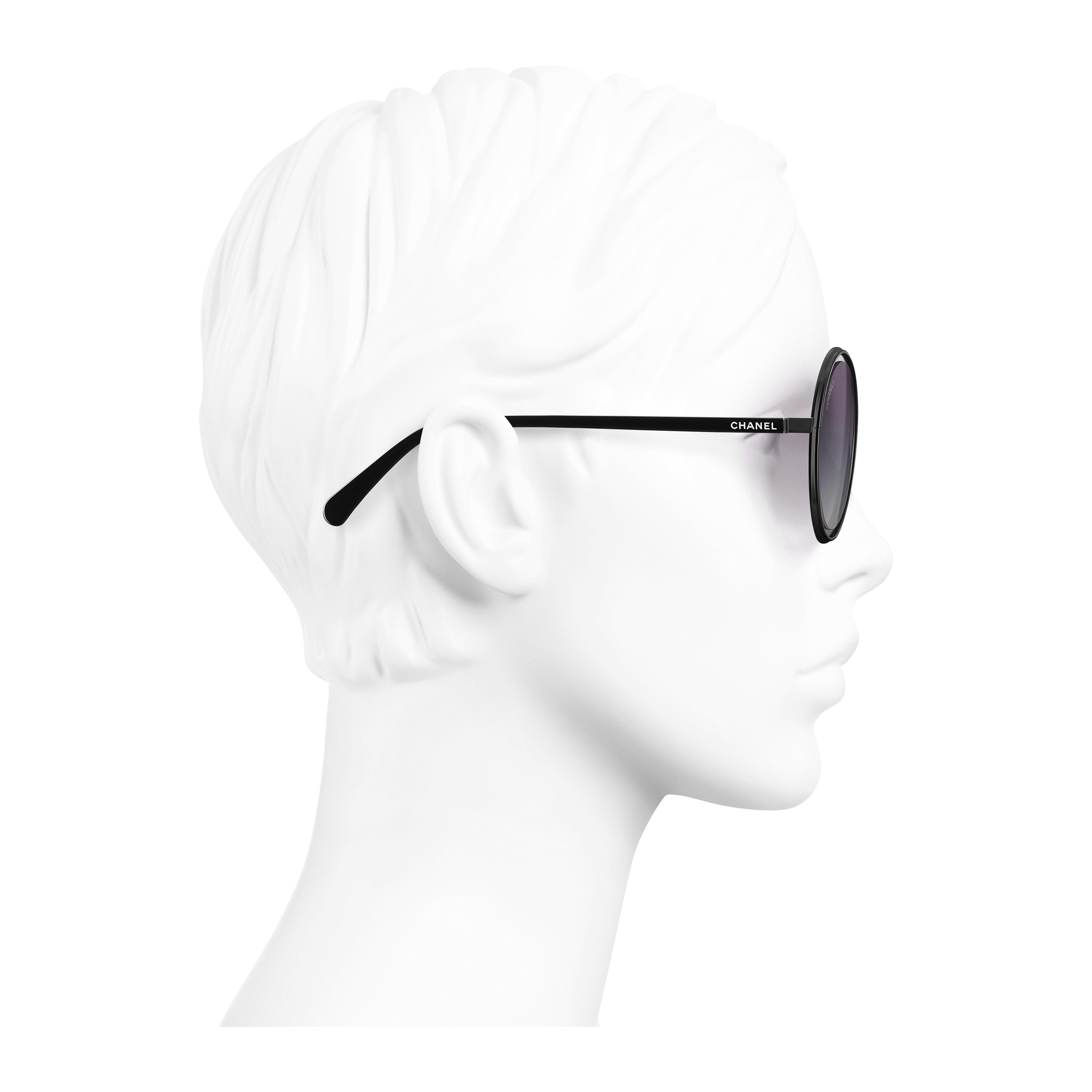 Round Sunglasses Metal Black - - see full sized version