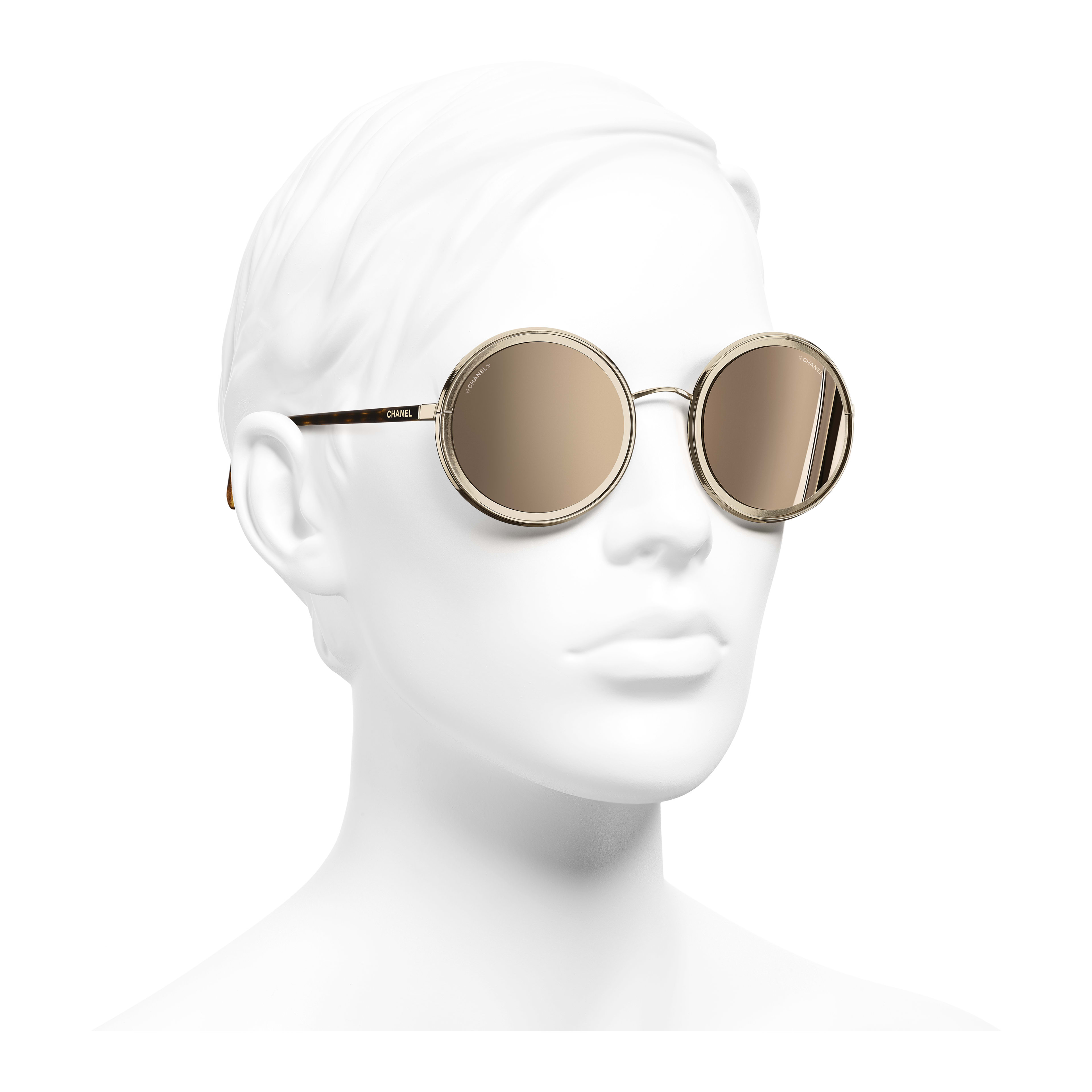 Round Sunglasses - Gold - Metal - 18-Karat Gold Lenses - Worn 3/4 view - see full sized version