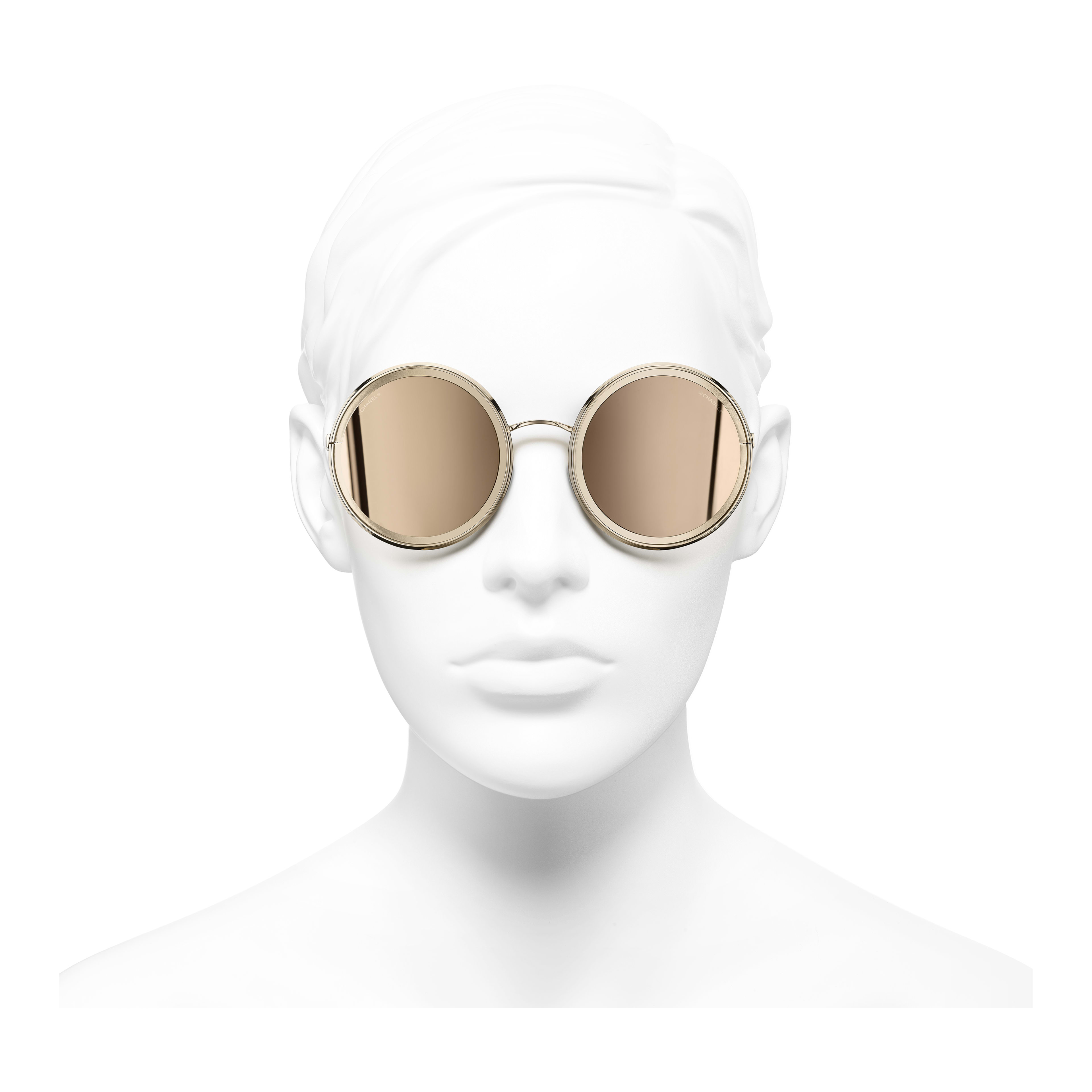 Round Sunglasses - Gold - Metal - 18-Karat Gold Lenses - Worn front view - see full sized version