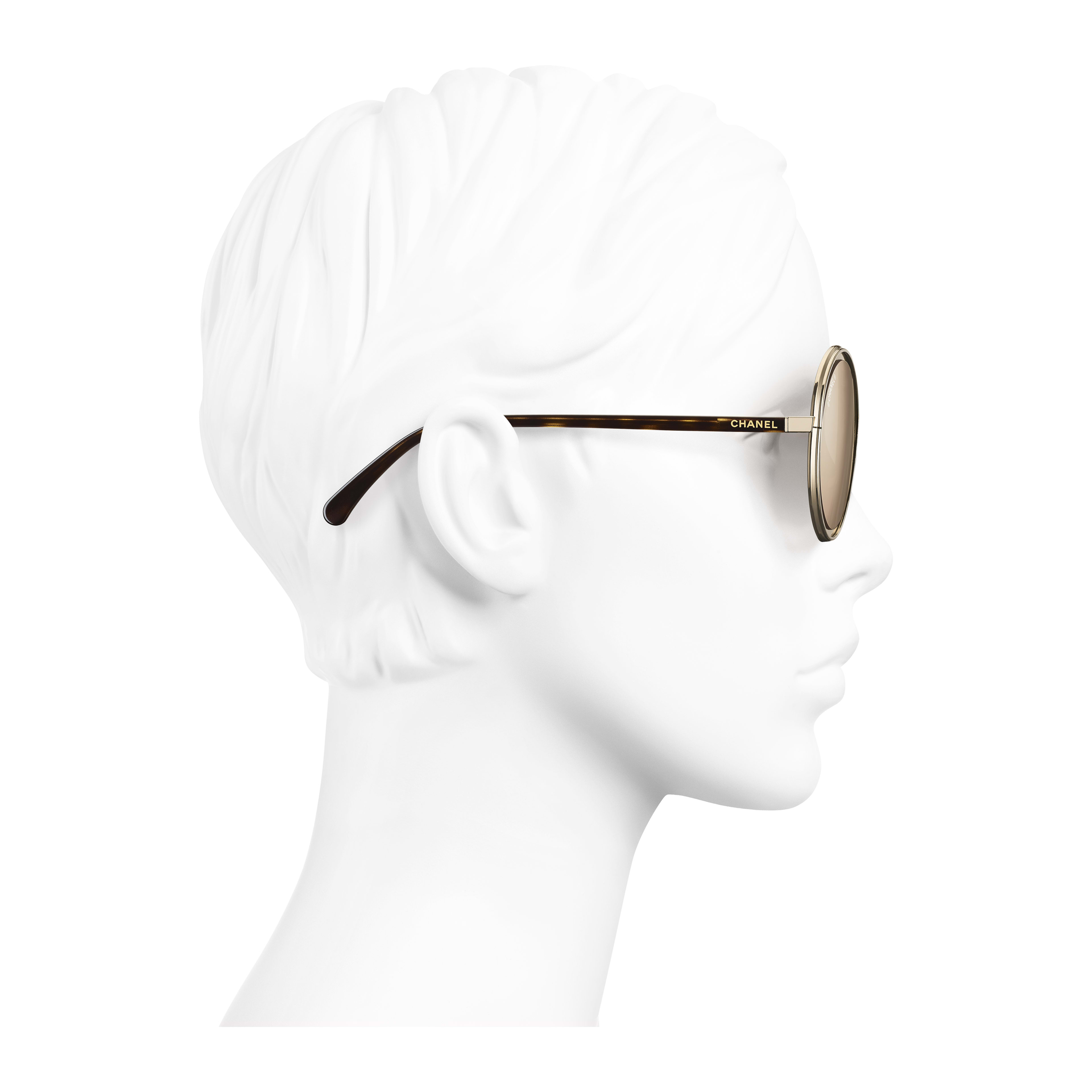 Round Sunglasses - Gold - Metal - 18-Karat Gold Lenses - Worn side view - see full sized version