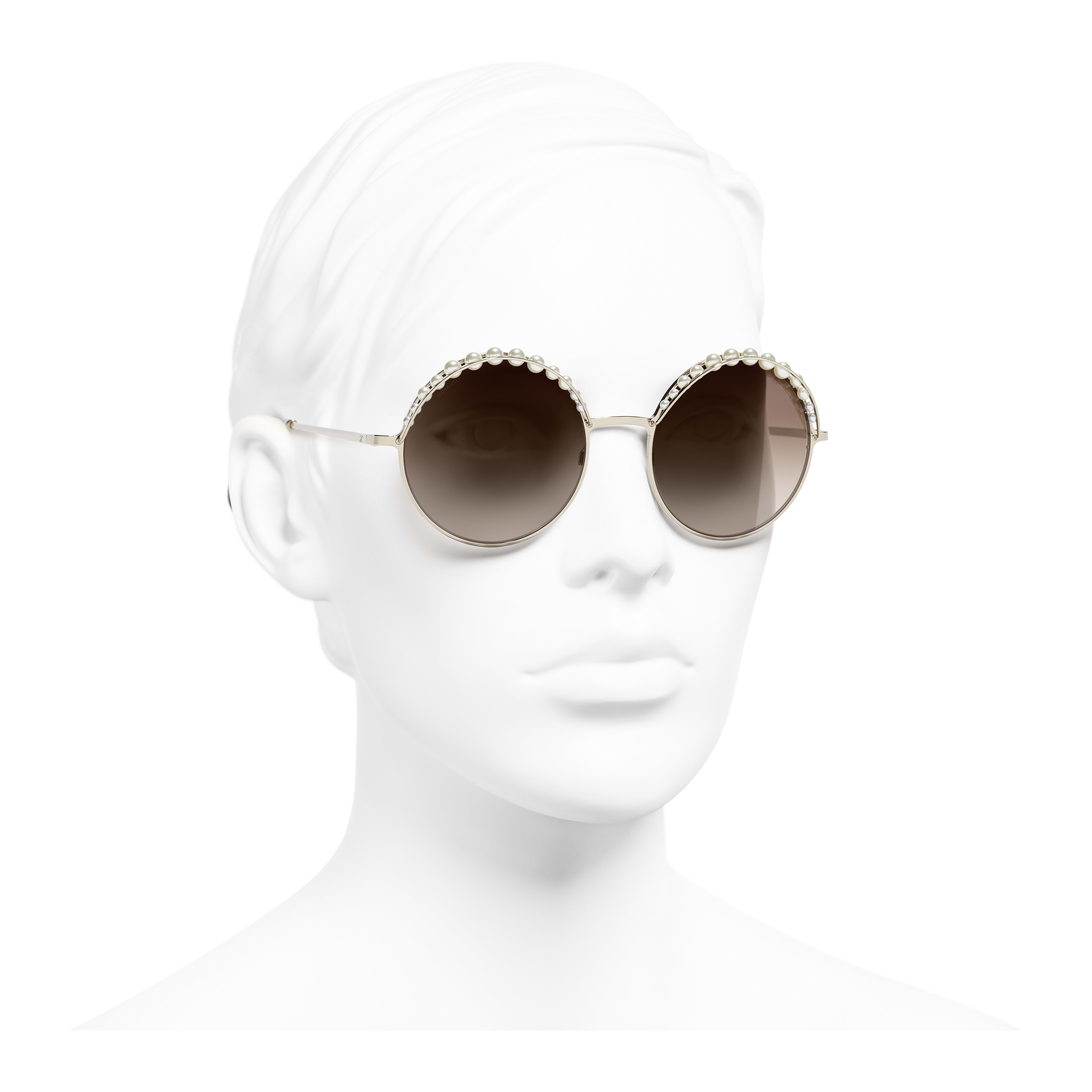 Round Sunglasses - Gold - Metal & Imitation Pearls - Worn 3/4 view - see full sized version