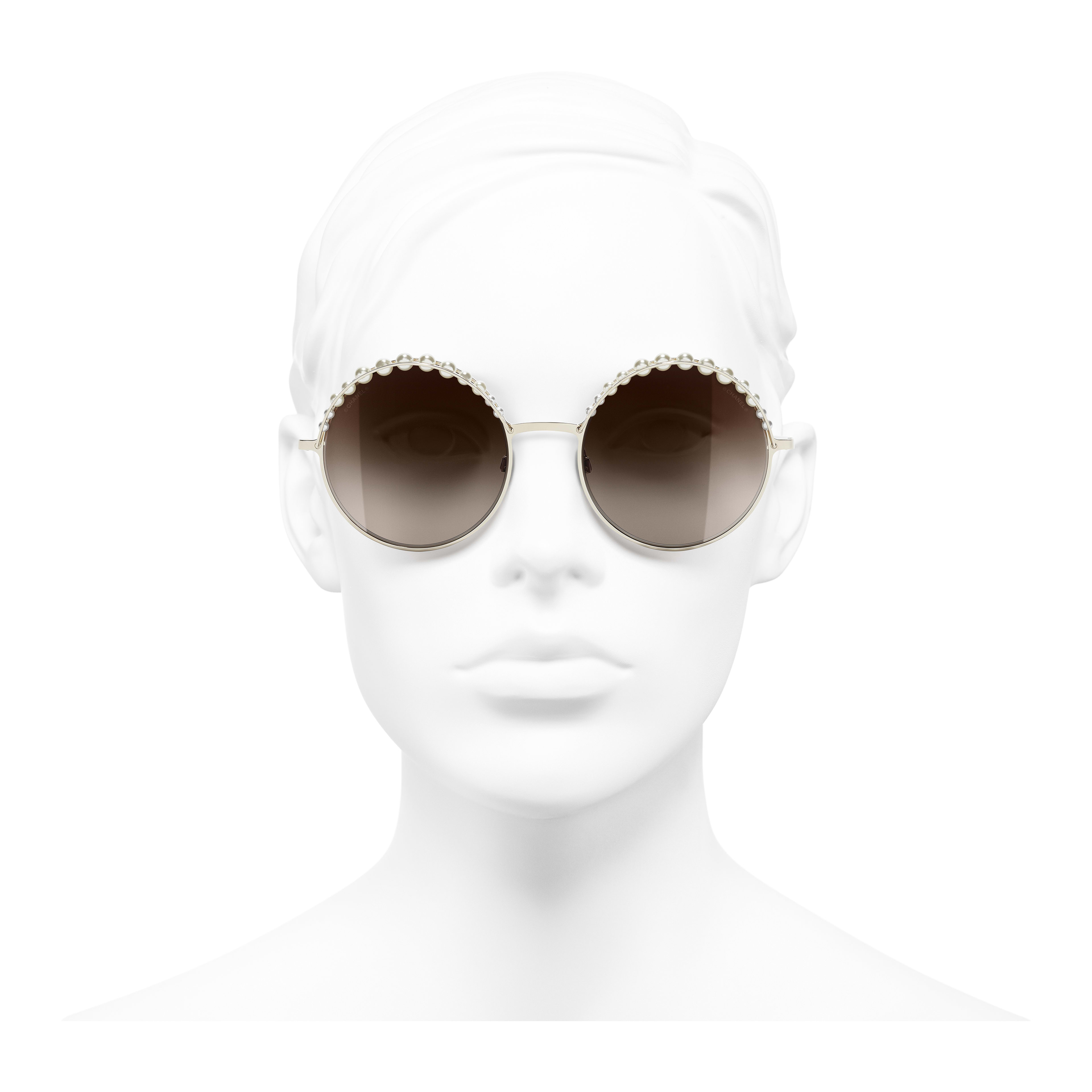 Round Sunglasses - Gold - Metal & Imitation Pearls - Worn front view - see full sized version