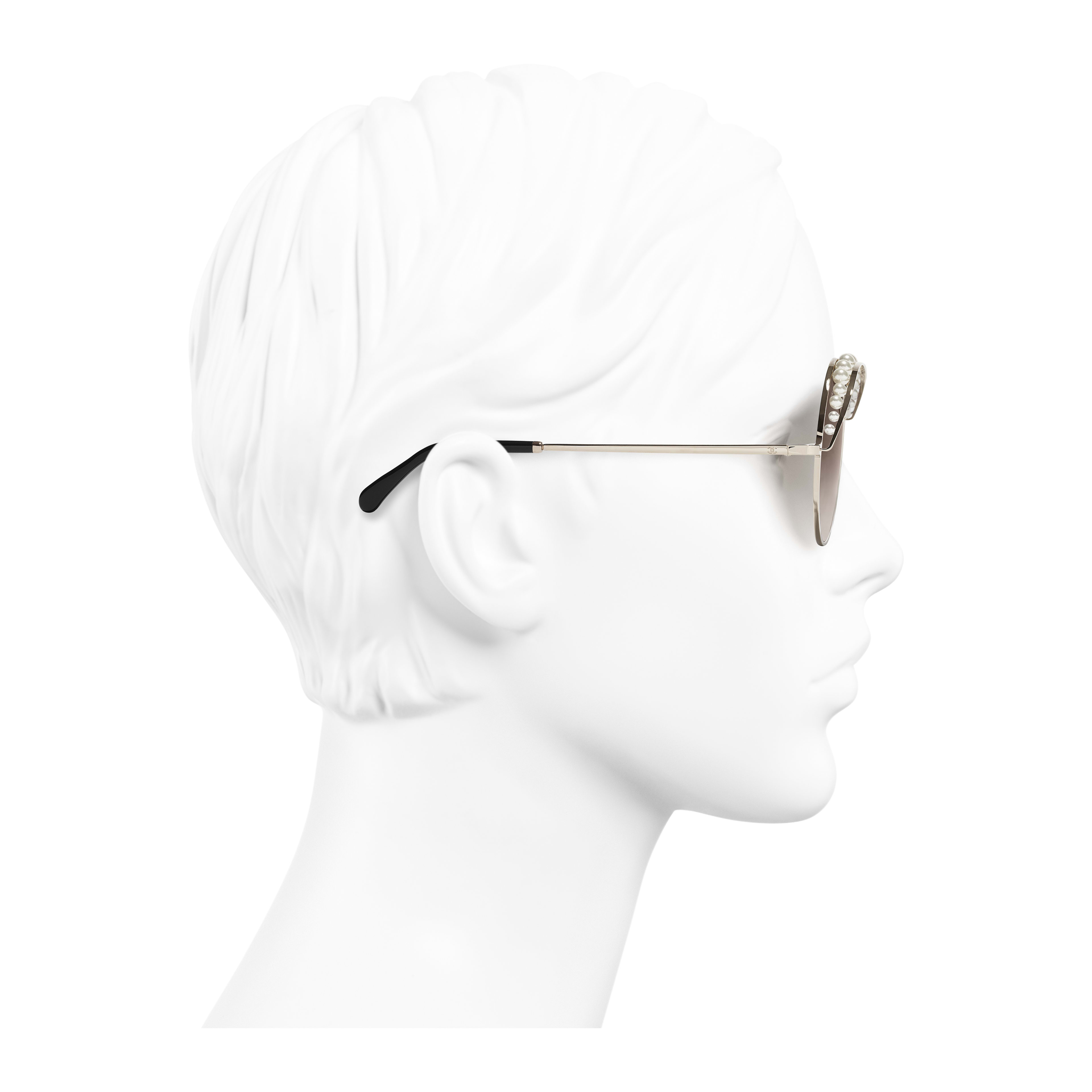 Round Sunglasses - Gold - Metal & Imitation Pearls - Worn side view - see full sized version