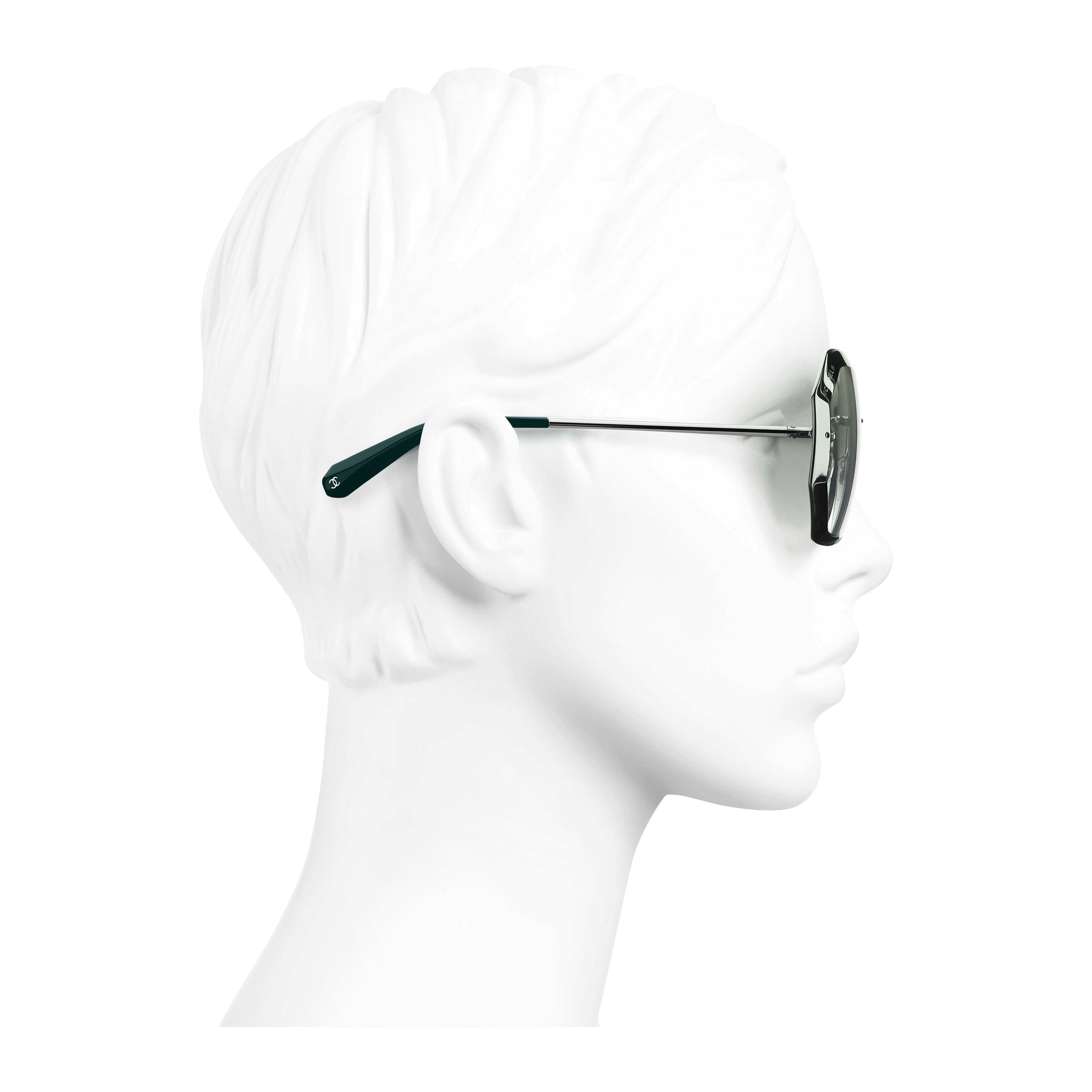 Round Sunglasses Metal Silver & Green - - see full sized version