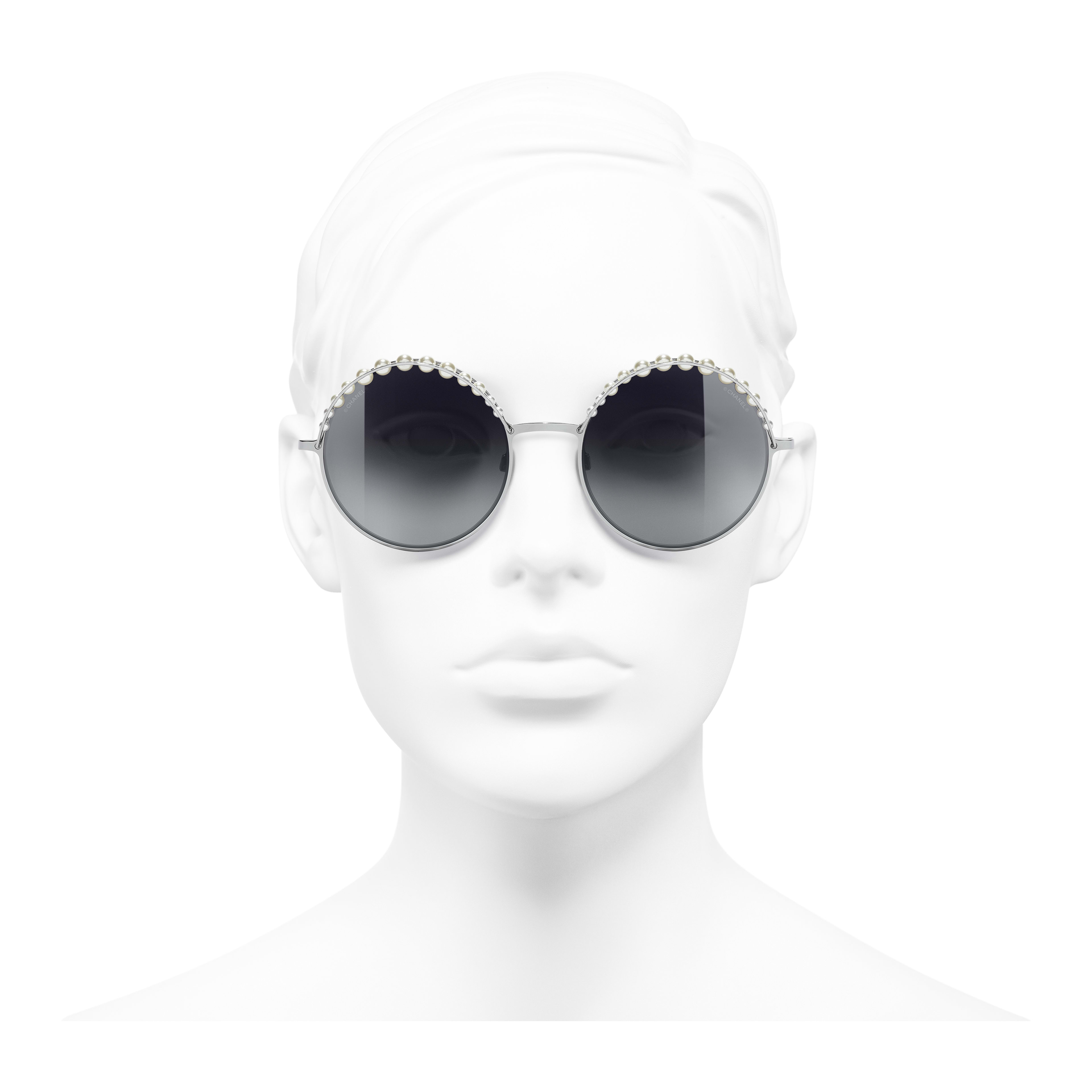 Round Sunglasses Metal & Imitation Pearls Silver -                                                                     view 2 - see full sized version