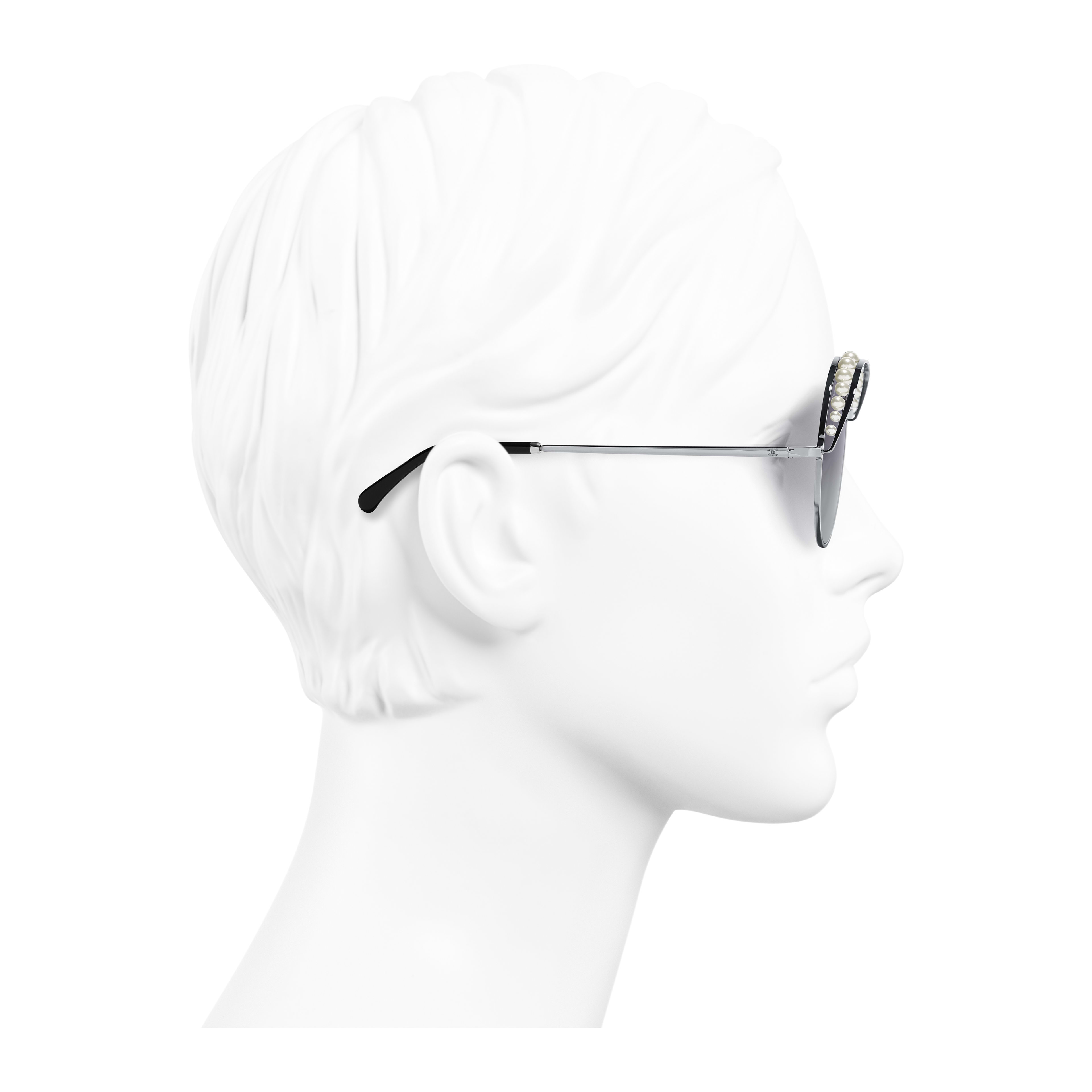 Round Sunglasses Metal & Imitation Pearls Silver - - see full sized version