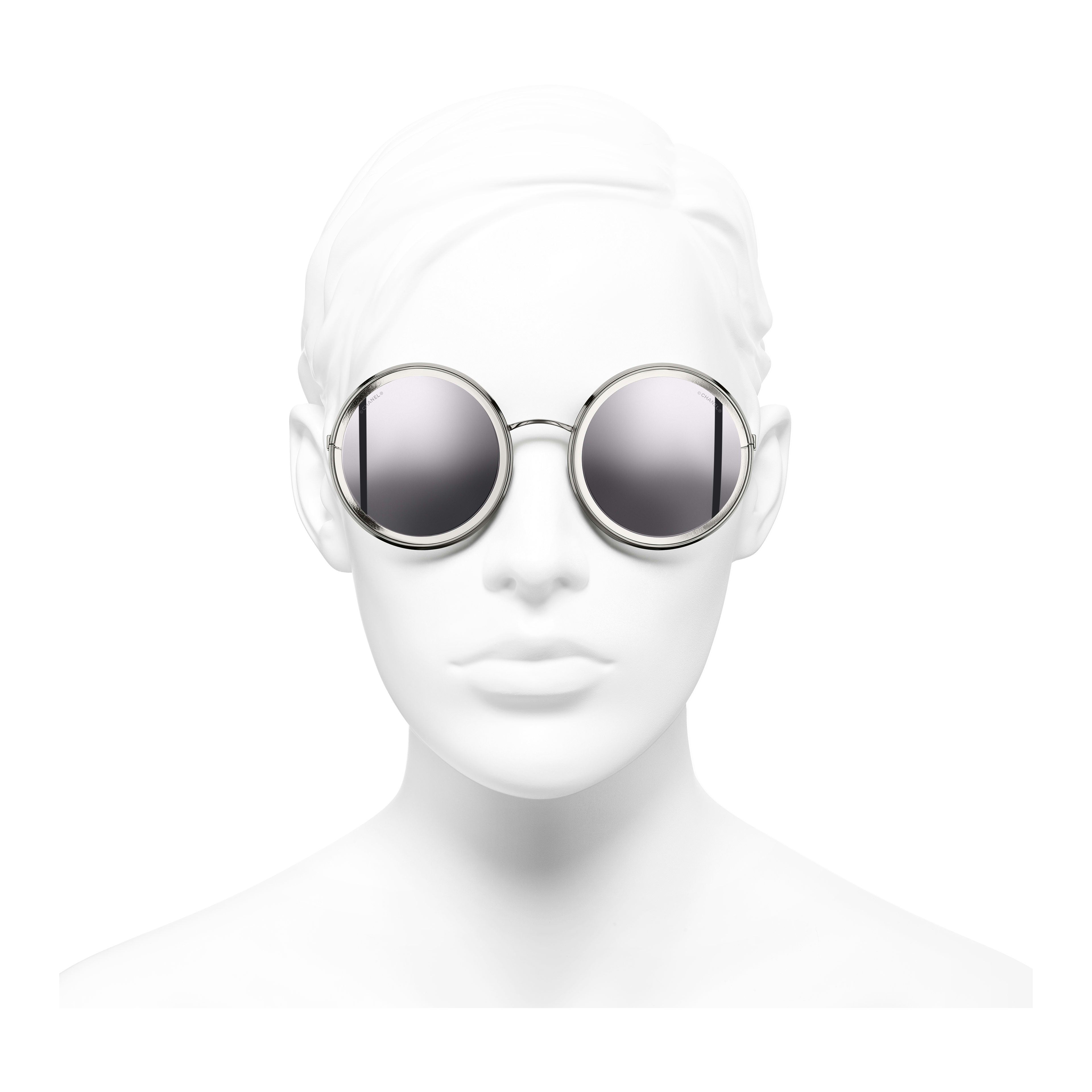 Round Sunglasses - Silver - Metal - Worn front view - see full sized version