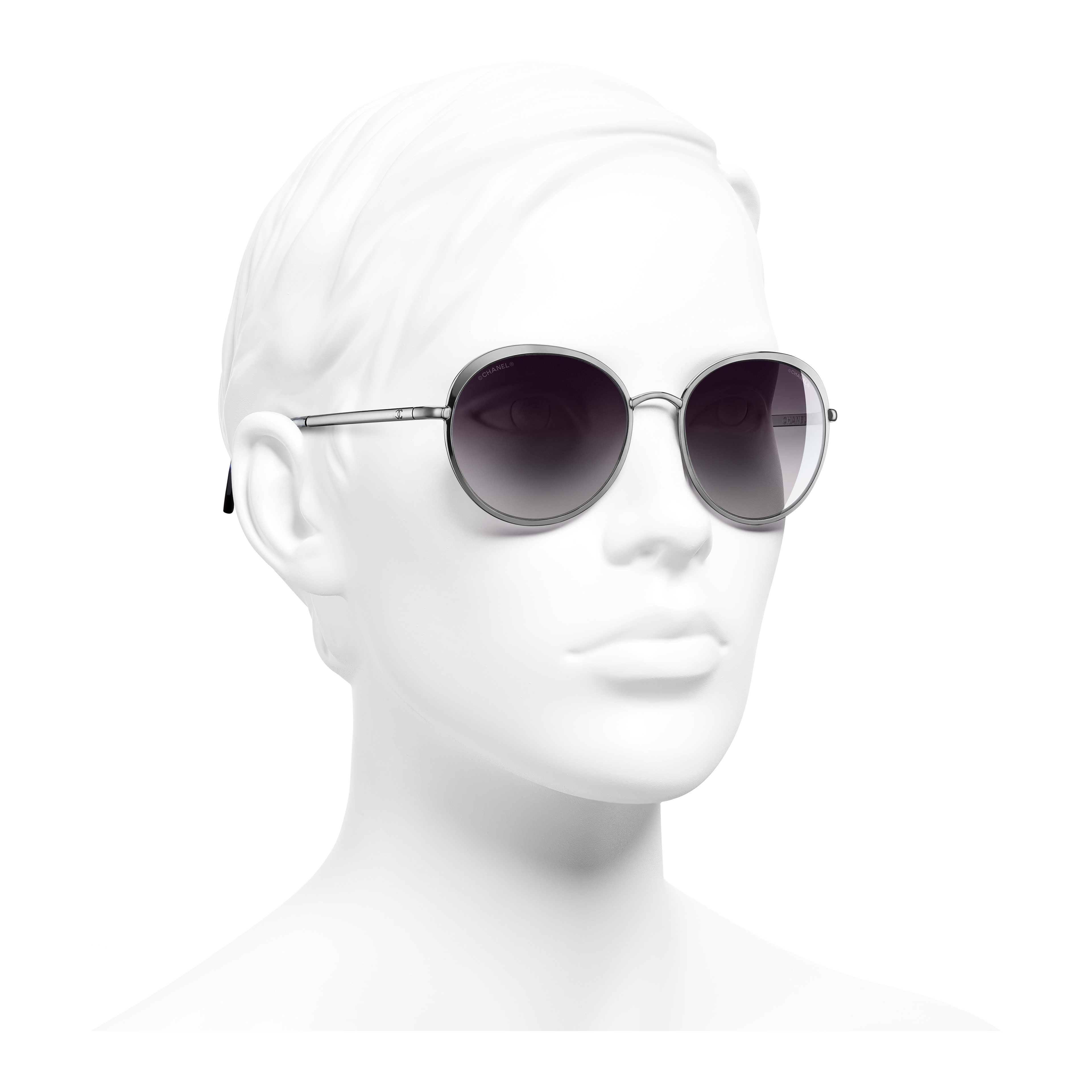 Round Sunglasses Metal Silver - - see full sized version