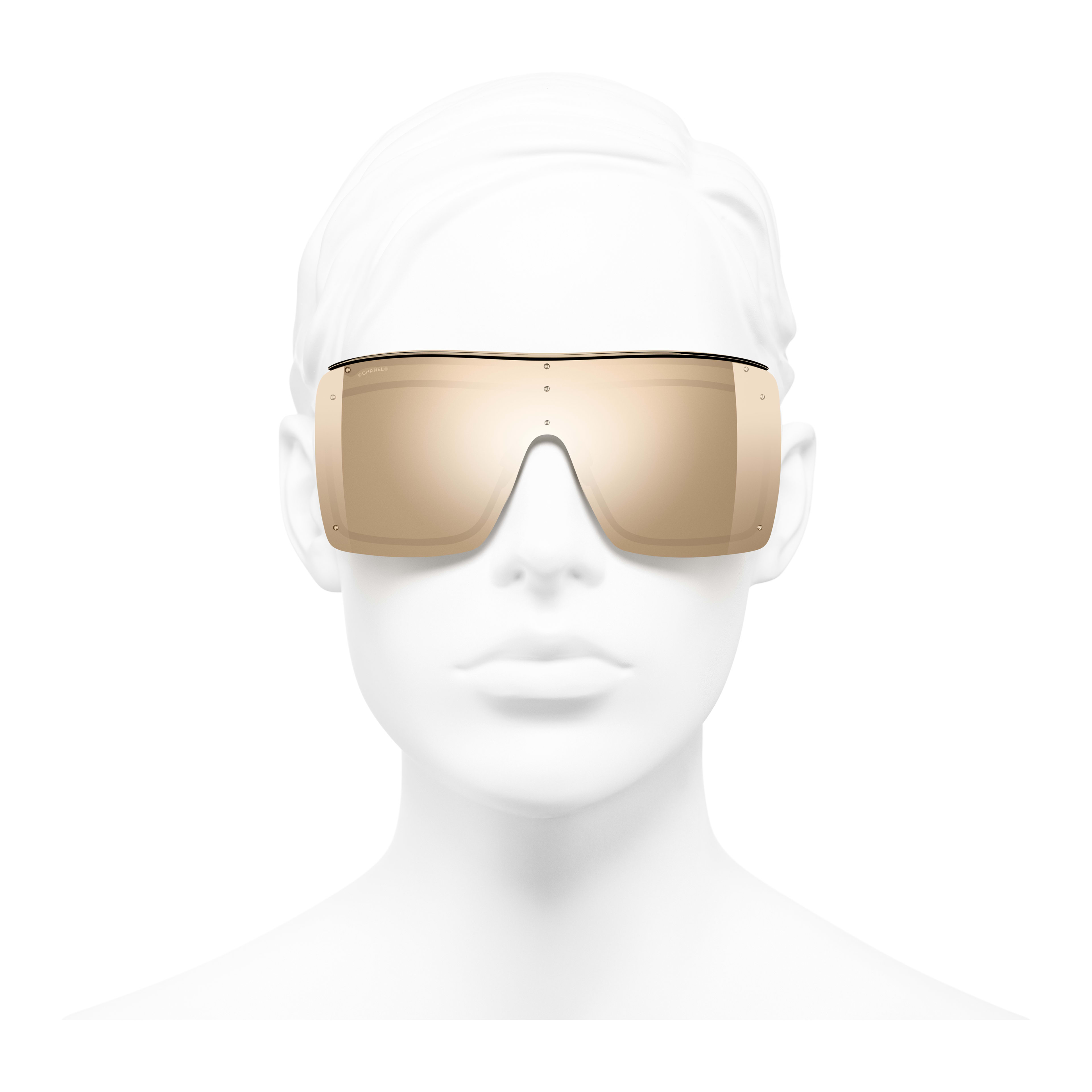 Shield Sunglasses - Gold - Metal - 18-Karat Gold Lenses - Worn front view - see full sized version