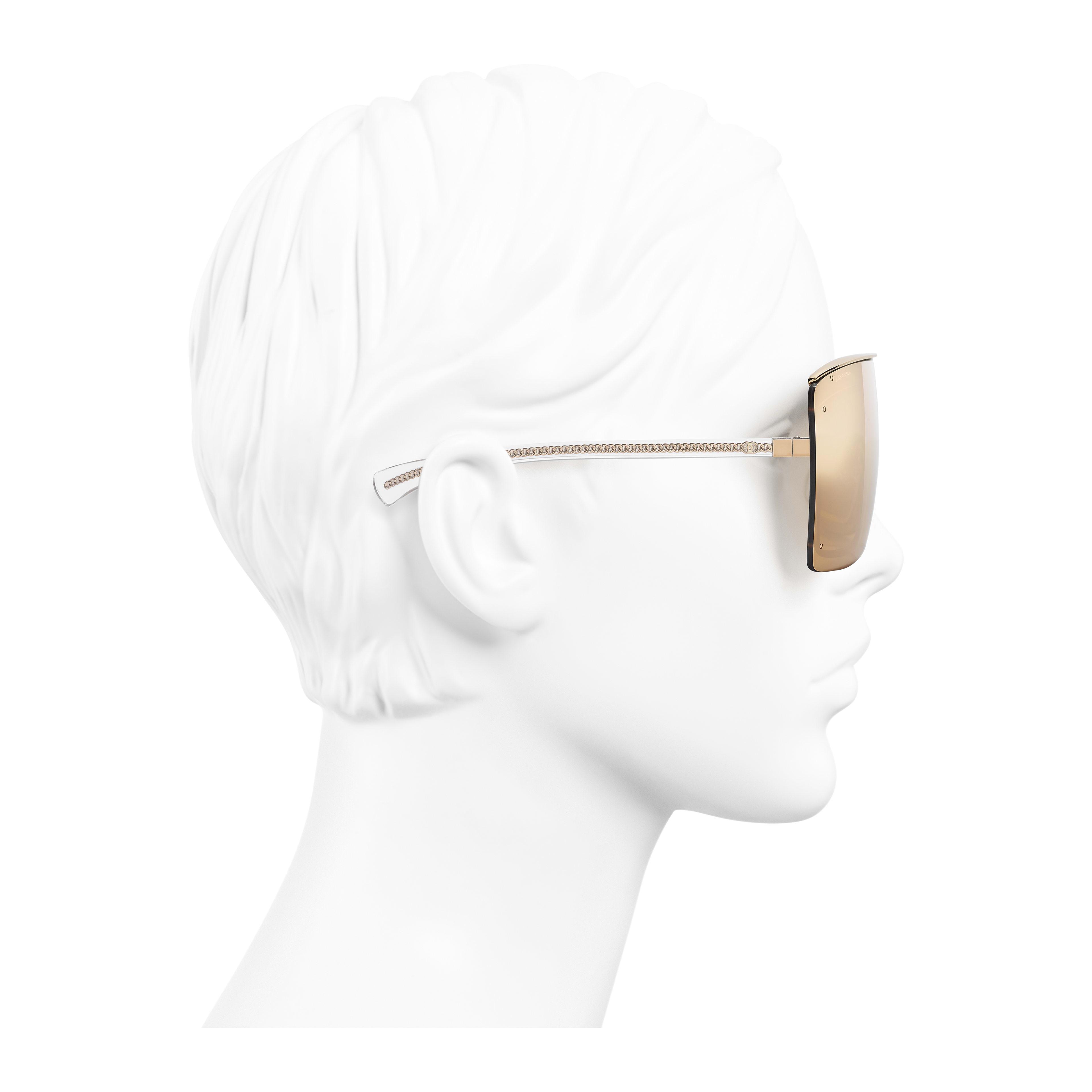 Shield Sunglasses - Gold - Metal - 18-Karat Gold Lenses - Worn side view - see full sized version