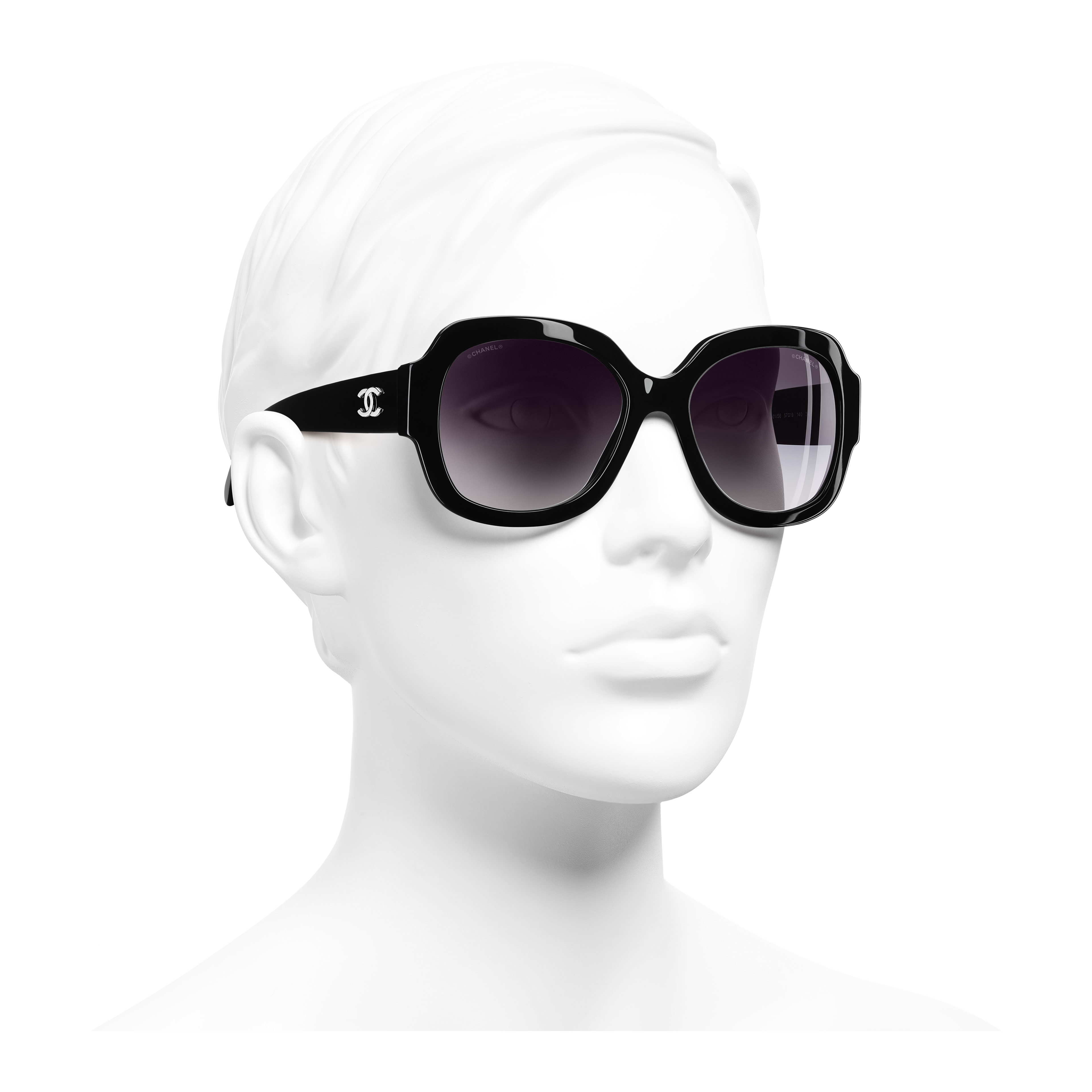 Square Sunglasses Acetate Black - - see full sized version