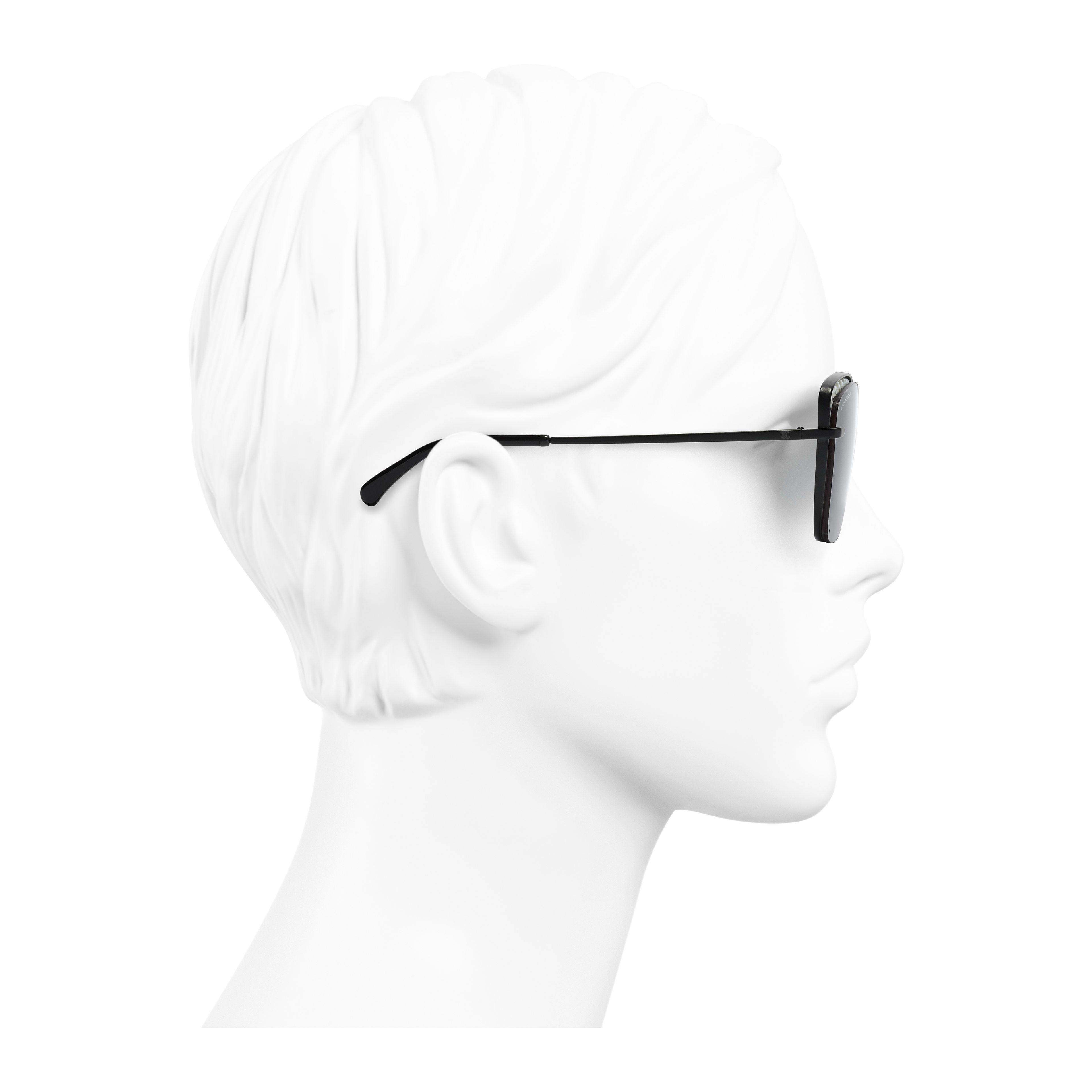 Square Sunglasses Metal & Imitation Pearls Black - - see full sized version