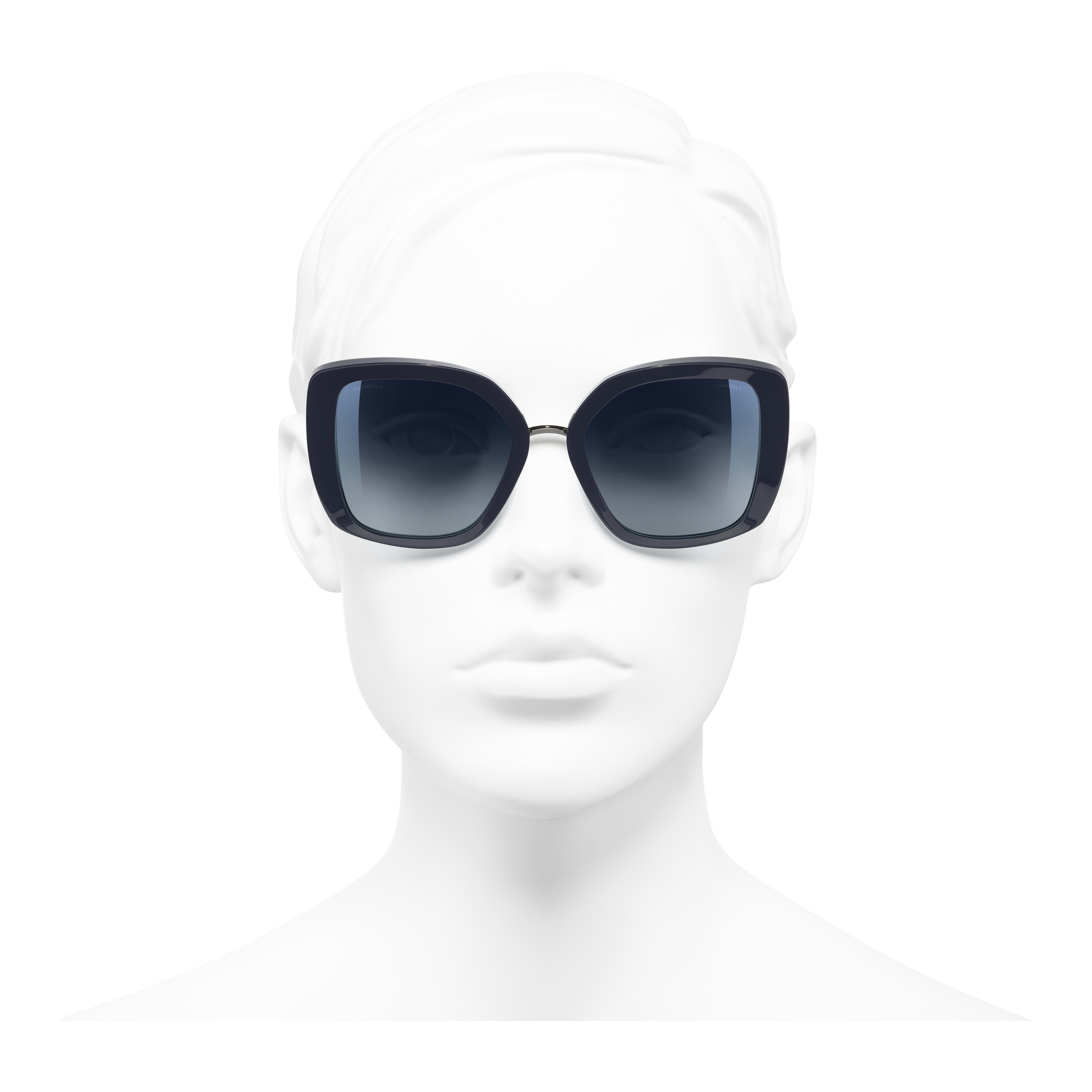Square Sunglasses - Dark Blue - Acetate & Metal - Worn front view - see full sized version