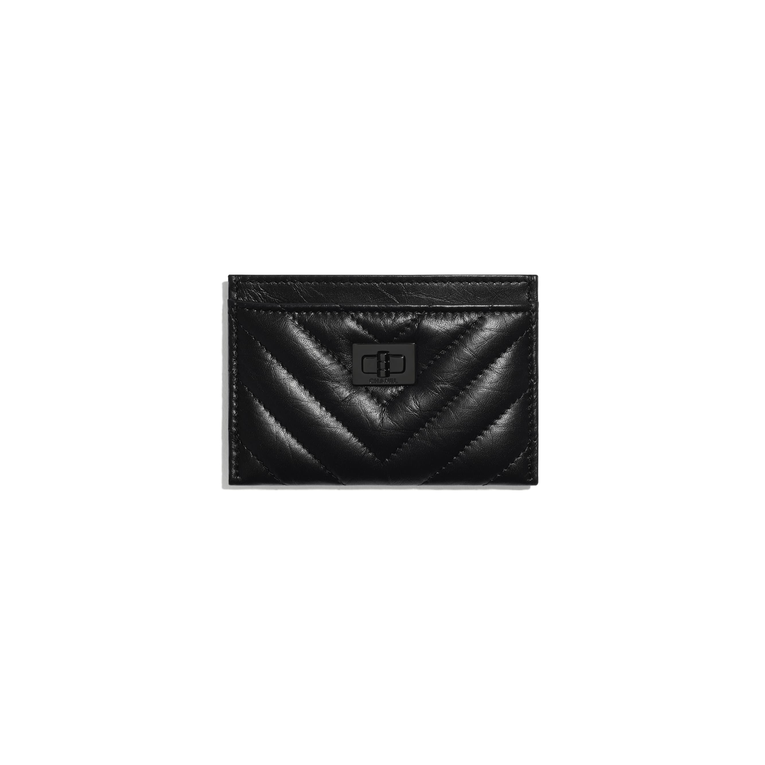 Porte-cartes 2.55 - Noir - Veau vieilli & métal noir - CHANEL - Vue par défaut - voir la version taille standard
