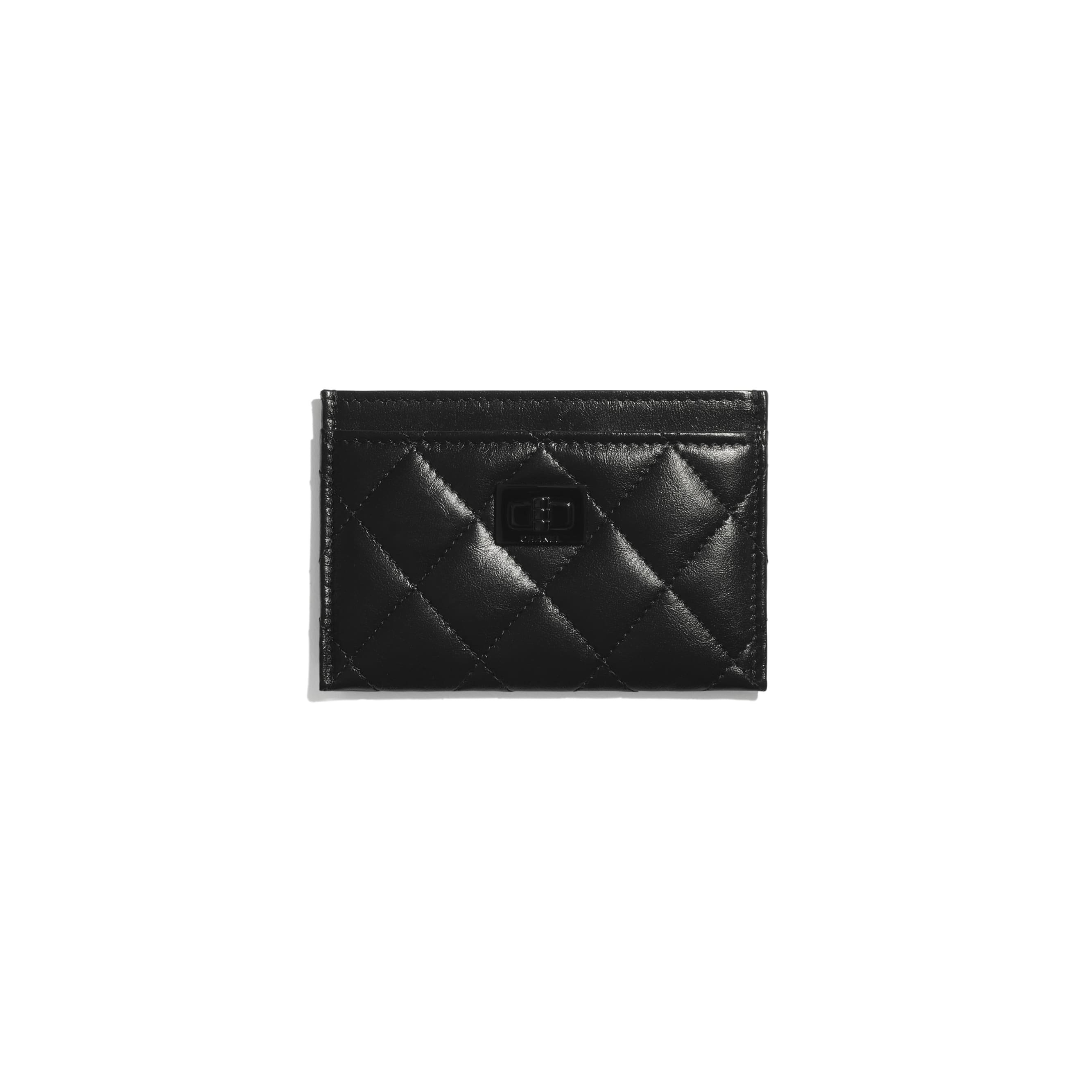 2.55 Card Holder - Black - Aged Calfskin & Black Metal - CHANEL - Default view - see standard sized version