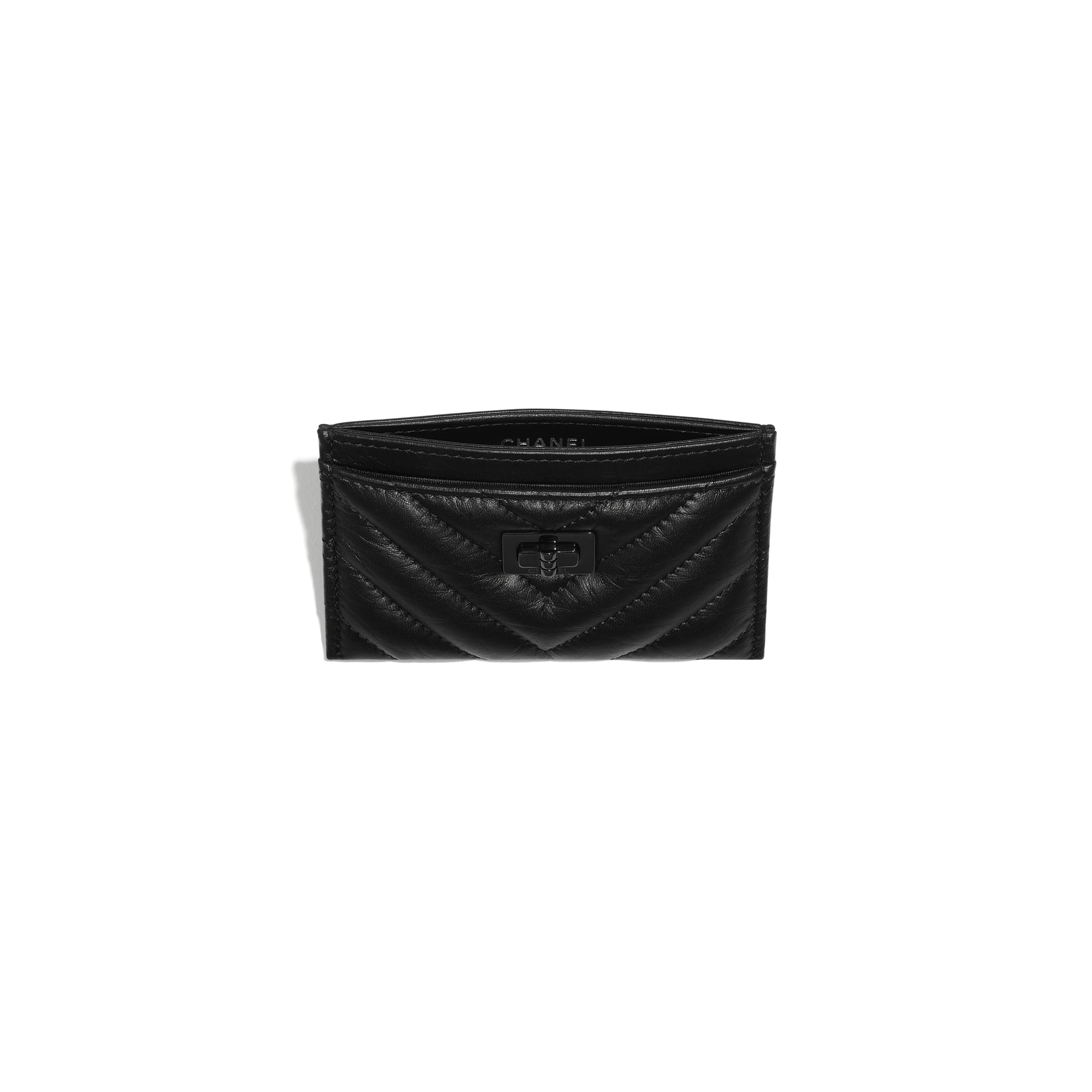 2.55 Card Holder - Black - Aged Calfskin & Black Metal - CHANEL - Other view - see standard sized version