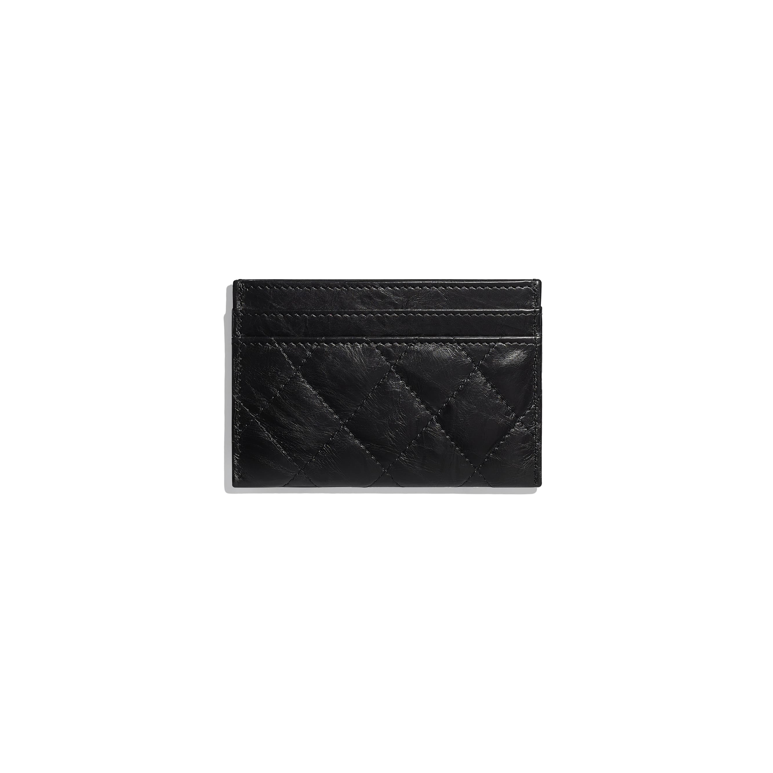2.55 Card Holder - Black - Aged Calfskin & Gold-Tone Metal - CHANEL - Alternative view - see standard sized version