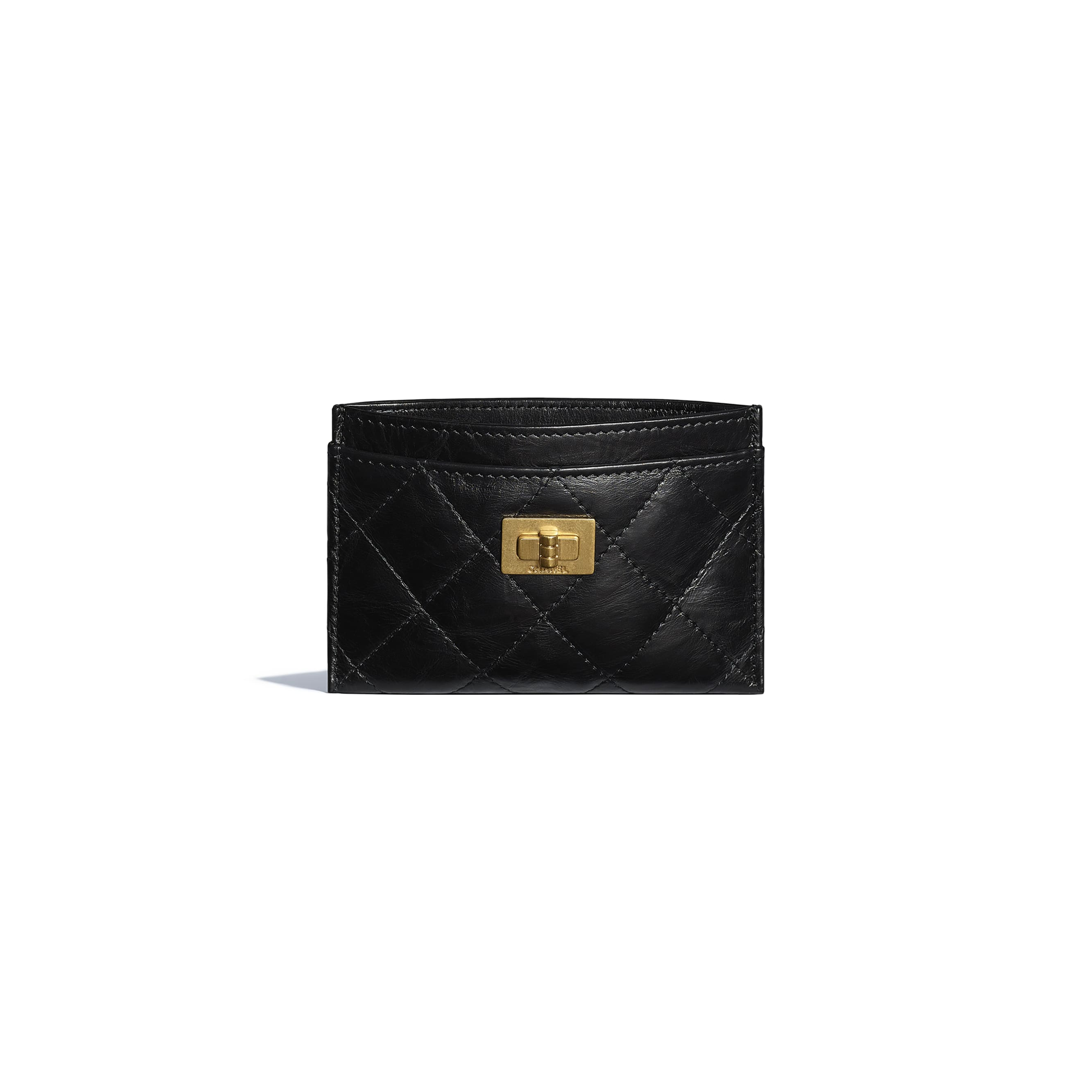 2.55 Card Holder - Black - Aged Calfskin & Gold-Tone Metal - CHANEL - Other view - see standard sized version
