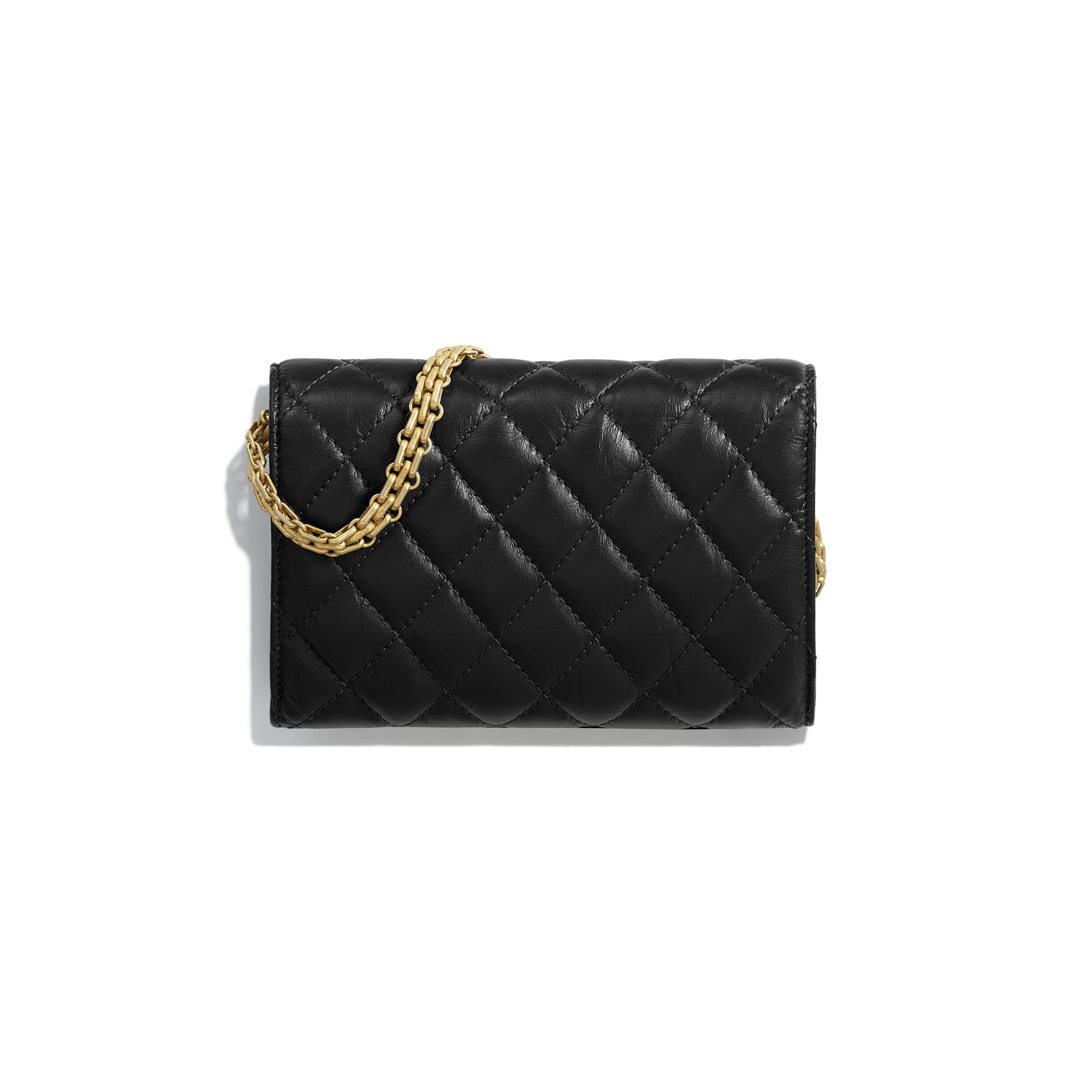 2.55 Clutch with Chain - Black - Aged Calfskin & Gold-Tone Metal - Alternative view - see standard sized version