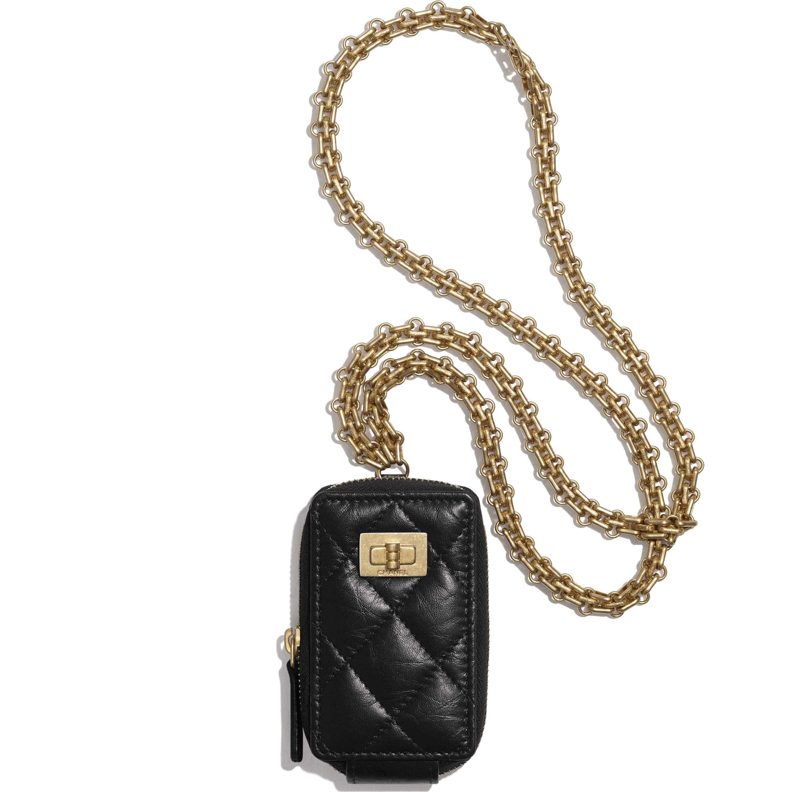 2.55 Clutch With Chain - Black - Aged Calfskin & Gold-Tone Metal - CHANEL - Default view - see standard sized version