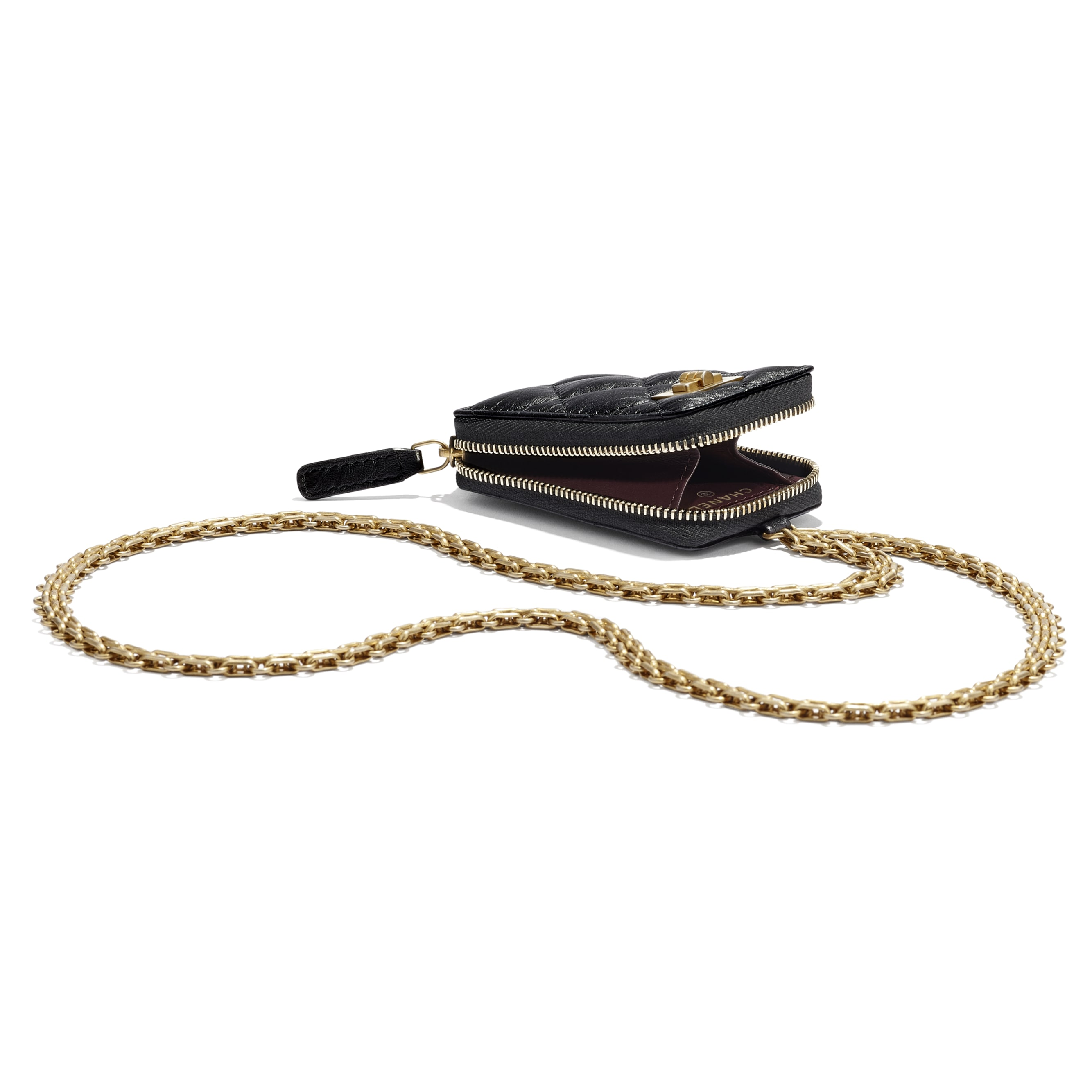 2.55 Clutch With Chain - Black - Aged Calfskin & Gold-Tone Metal - CHANEL - Extra view - see standard sized version