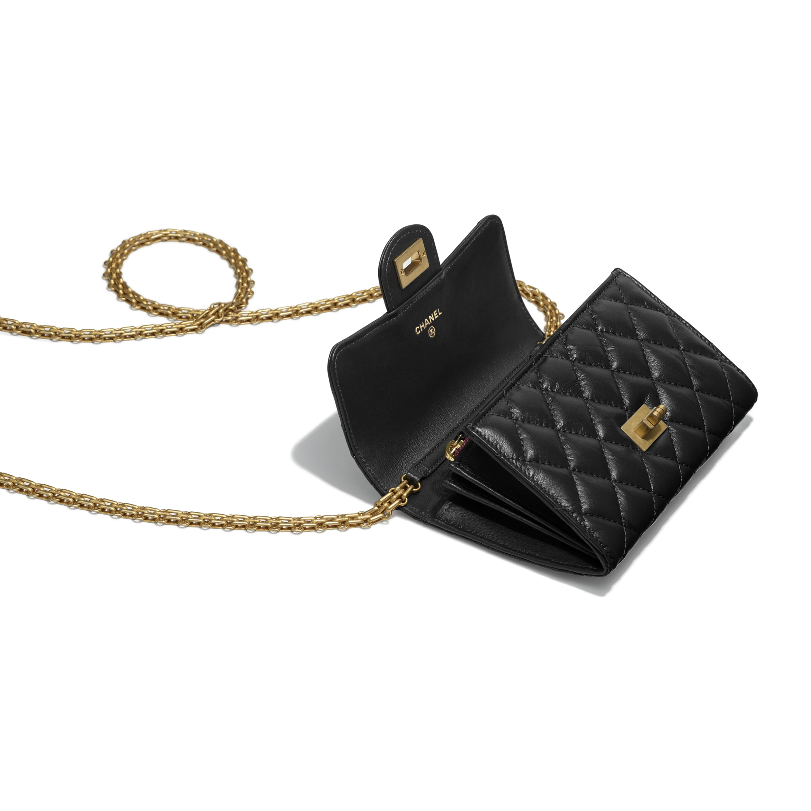 2.55 Clutch with Chain - Black - Aged Calfskin & Gold-Tone Metal - Other view - see standard sized version