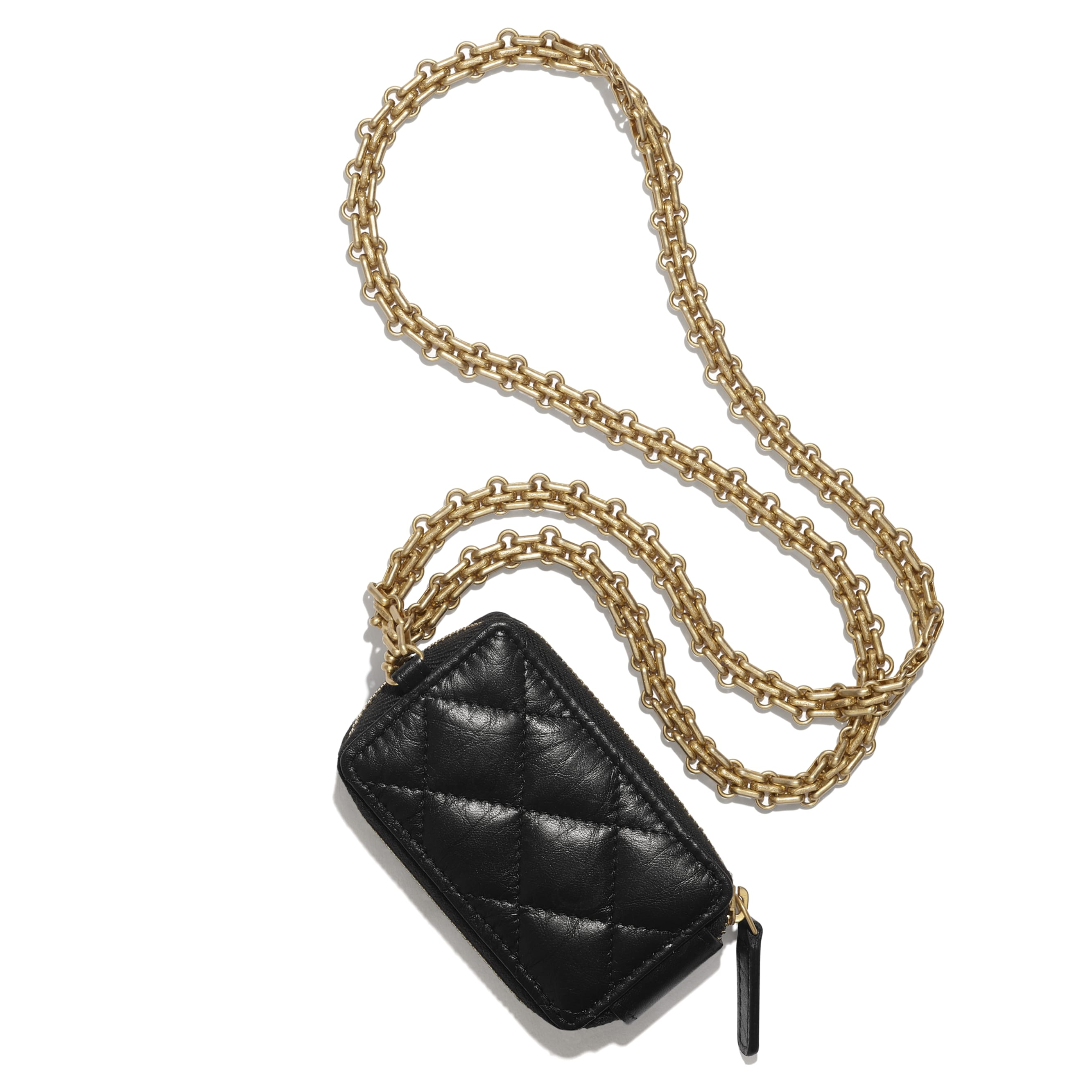 2.55 Clutch With Chain - Black - Aged Calfskin & Gold-Tone Metal - CHANEL - Other view - see standard sized version