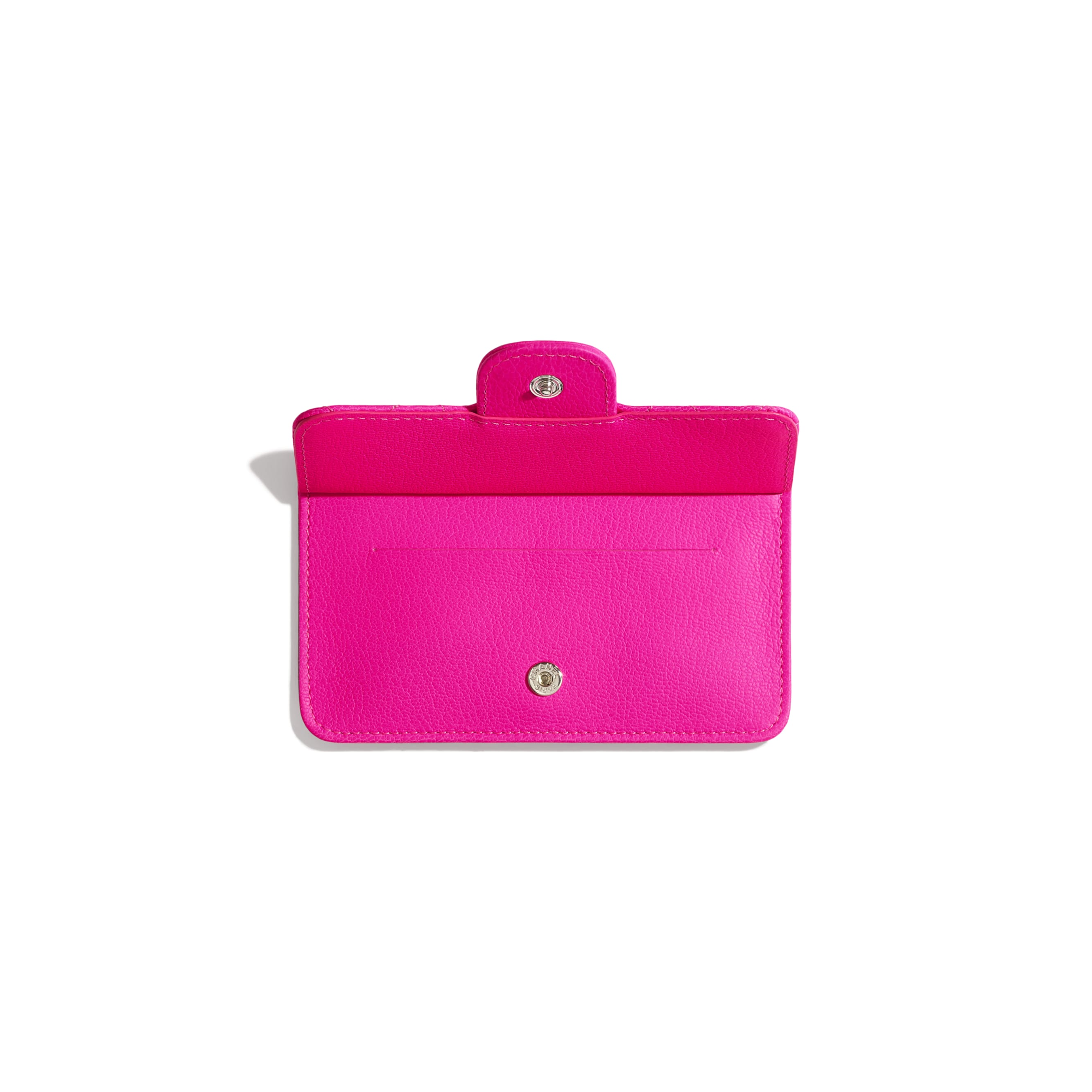 2.55 Flap Card Holder - Pink - Goatskin & Silver-Tone Metal - Other view - see standard sized version