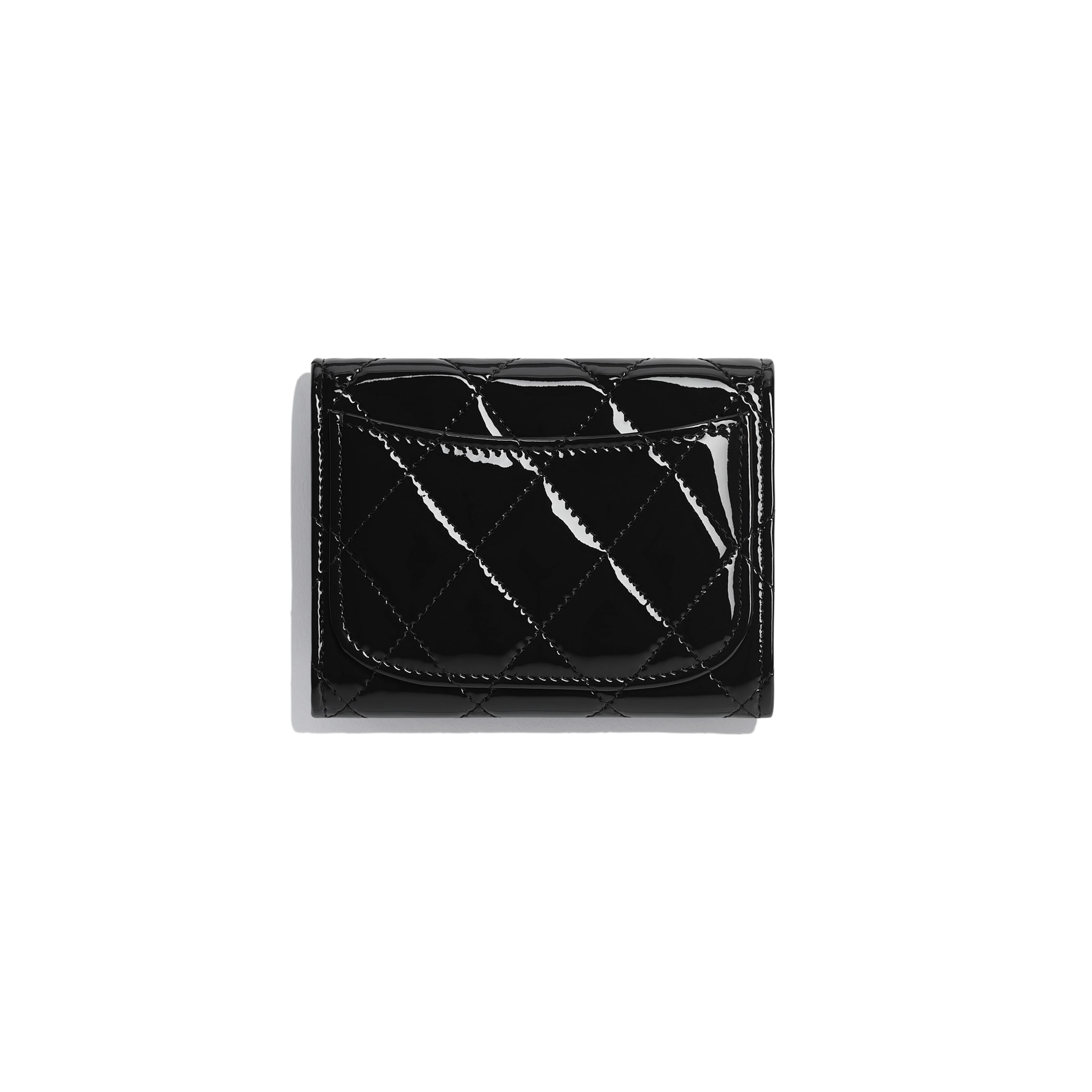 2.55 Flap Coin Purse - Black - Patent Calfskin & Black Metal - Alternative view - see standard sized version