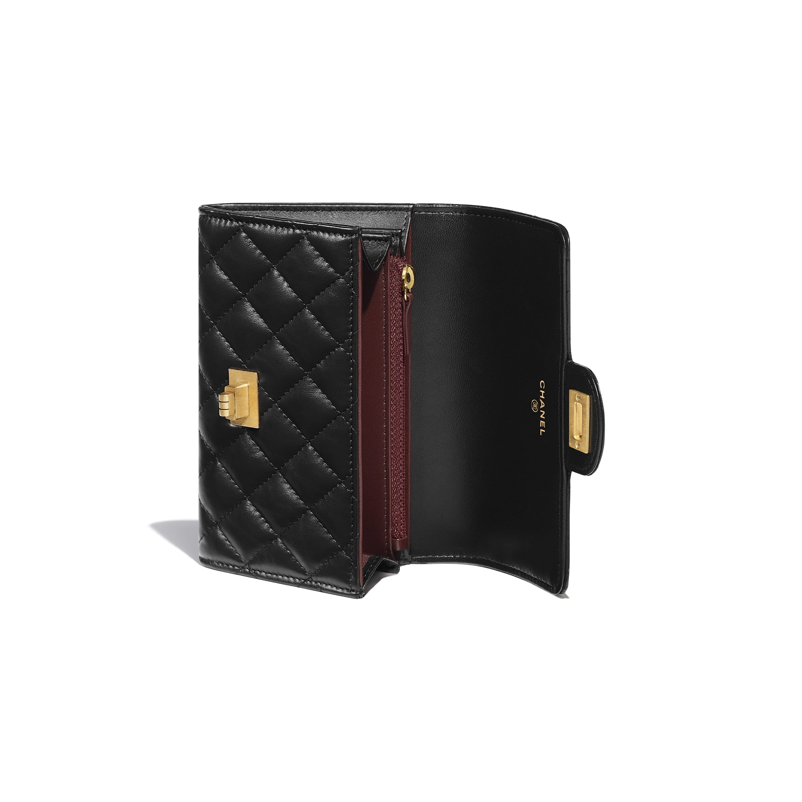 2.55 Flap Wallet - Black - Aged Calfskin & Gold-Tone Metal - Other view - see standard sized version