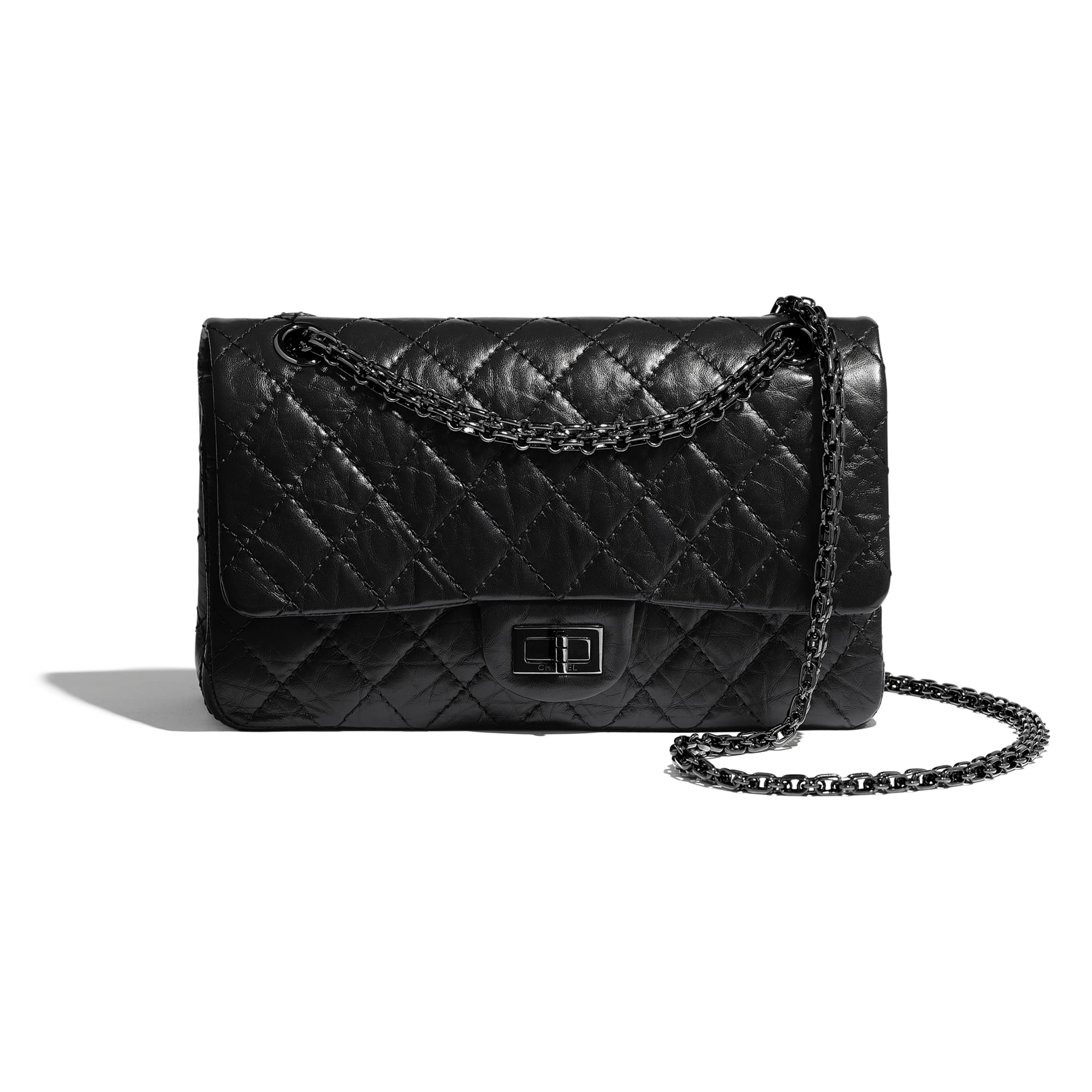 2.55 Handbag - Black - Aged Calfskin & Black Metal - Default view - see standard sized version