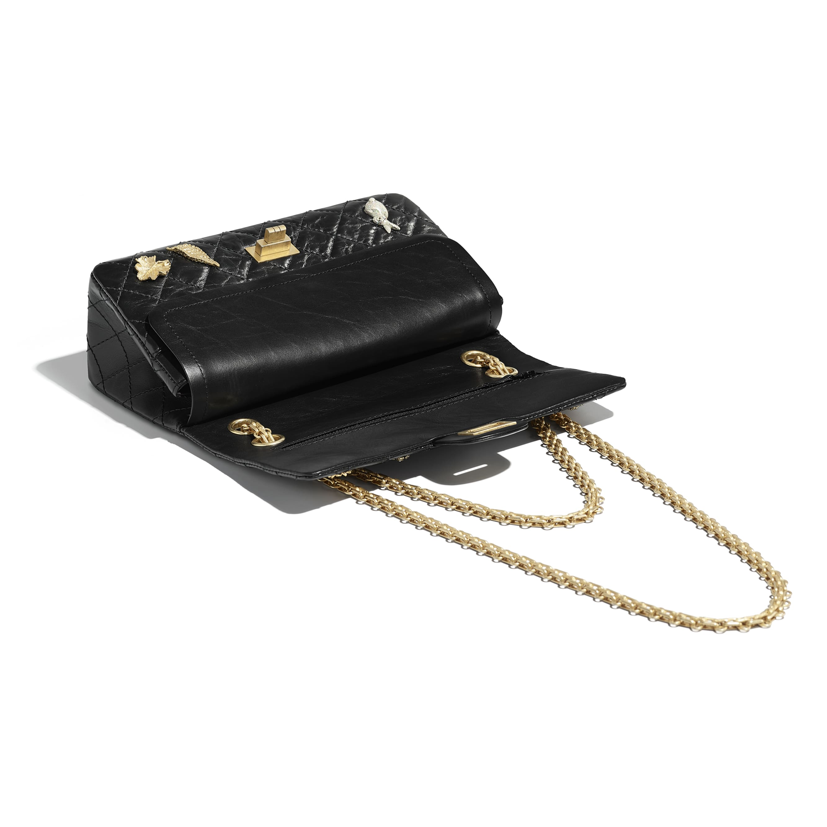 2.55 Handbag - Black - Aged Calfskin, Charms & Gold-Tone Metal - Other view - see standard sized version