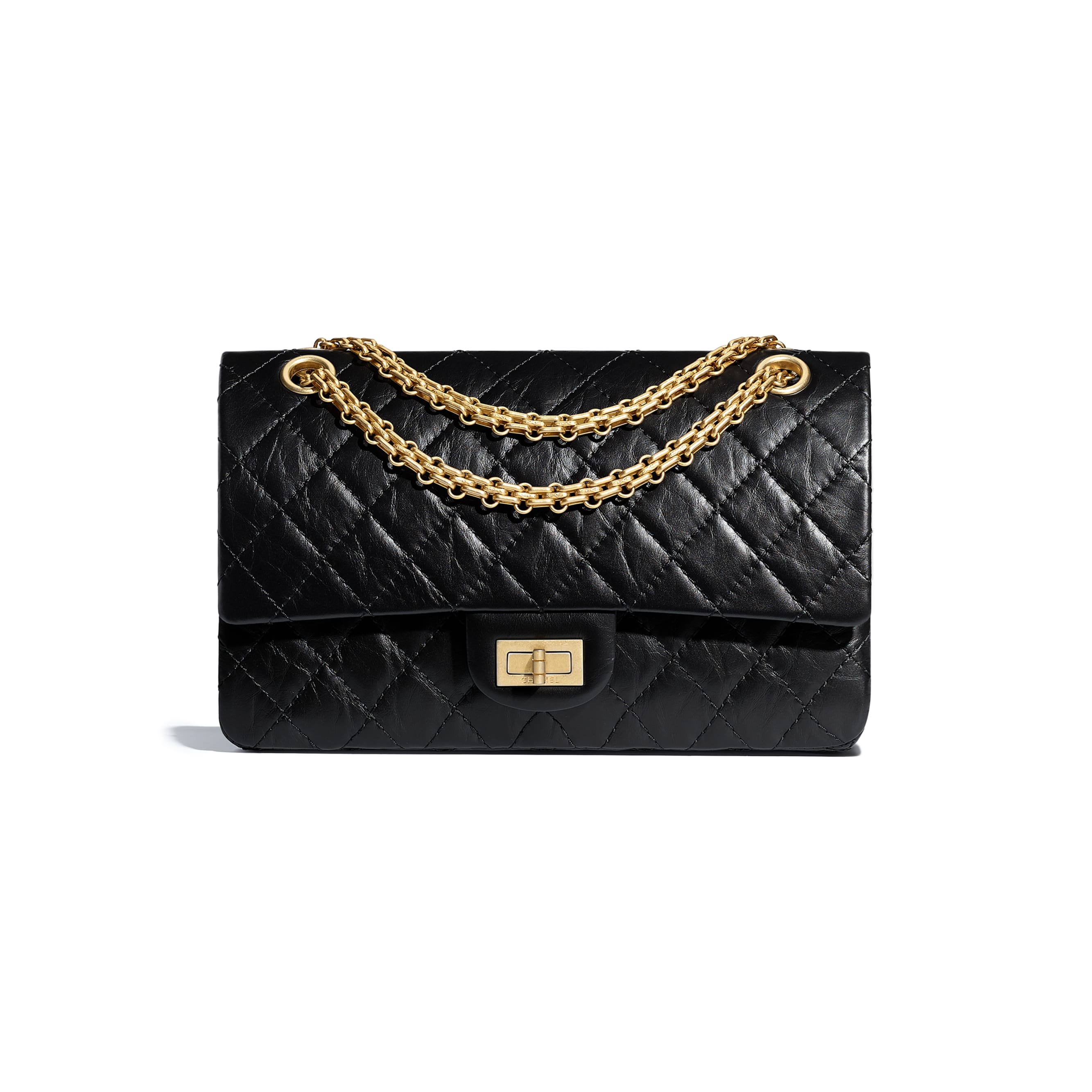 2.55 Handbag - Black - Aged Calfskin & Gold-Tone Metal - Default view - see standard sized version