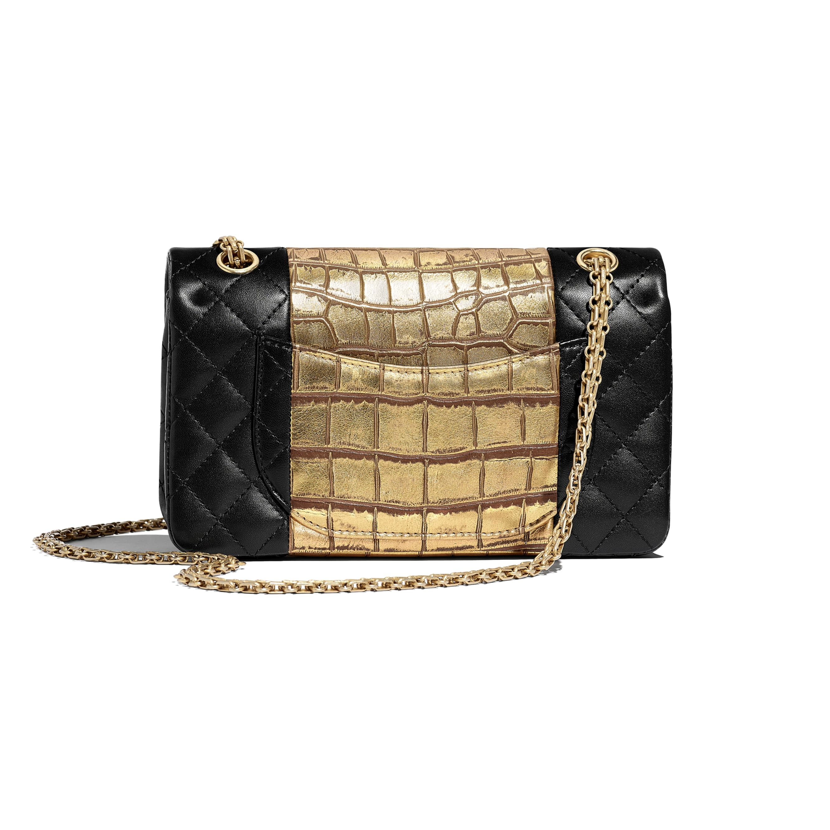 2.55 Handbag - Black & Gold - Lambskin, Crocodile Embossed Calfskin & Gold-Tone Metal - Alternative view - see standard sized version