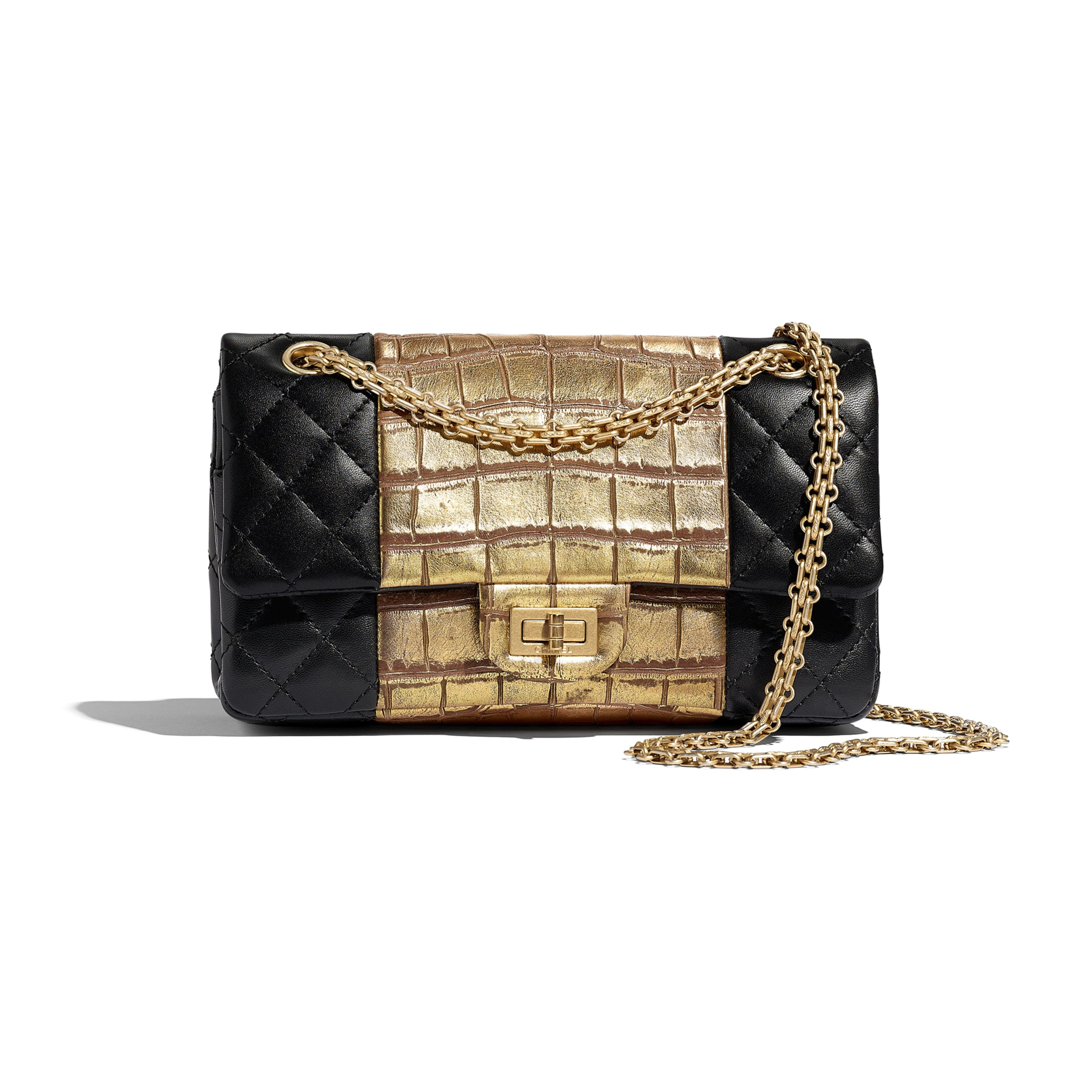 2.55 Handbag - Black & Gold - Lambskin, Crocodile Embossed Calfskin & Gold-Tone Metal - Default view - see standard sized version
