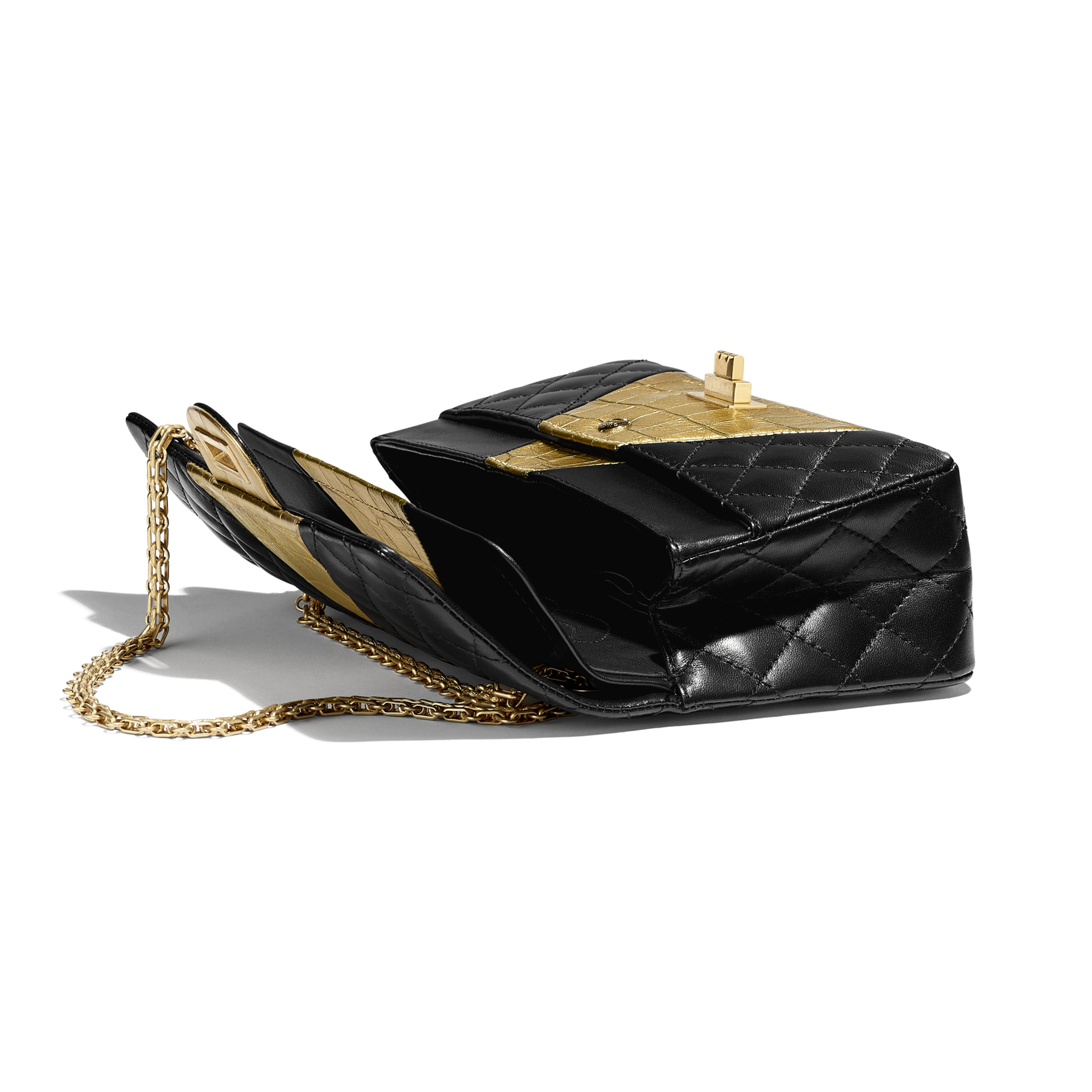 2.55 Handbag - Black & Gold - Lambskin, Crocodile Embossed Calfskin & Gold-Tone Metal - Other view - see standard sized version