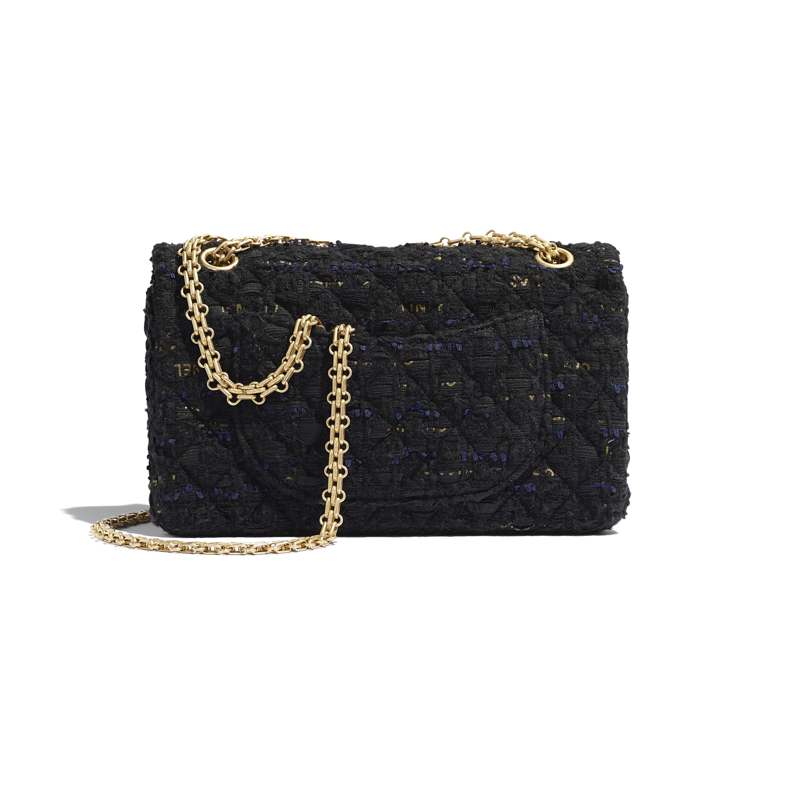 2.55 Handbag - Black, Navy Blue & Gold - Tweed & Gold Metal - CHANEL - Alternative view - see standard sized version