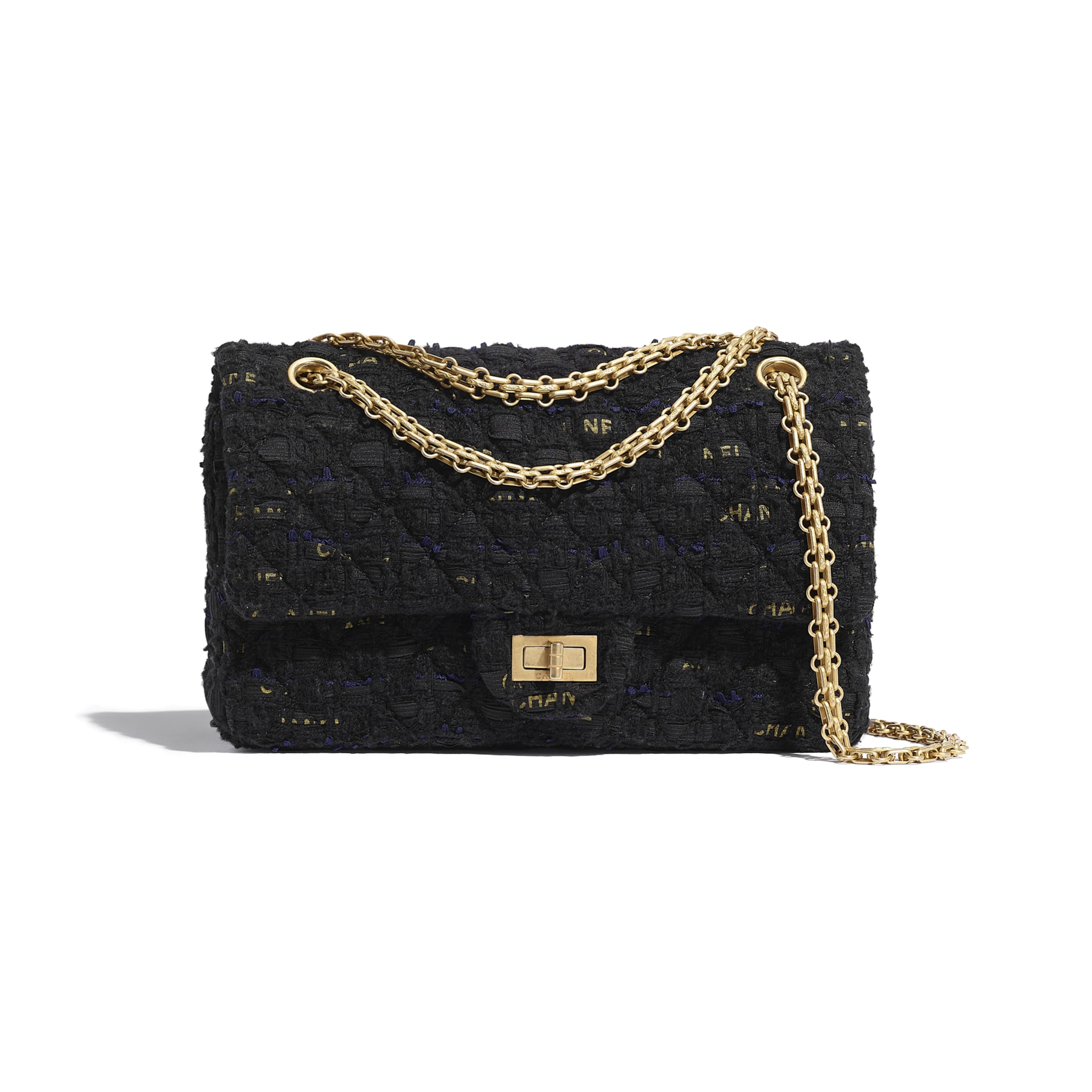 2.55 Handbag - Black, Navy Blue & Gold - Tweed & Gold Metal - CHANEL - Default view - see standard sized version