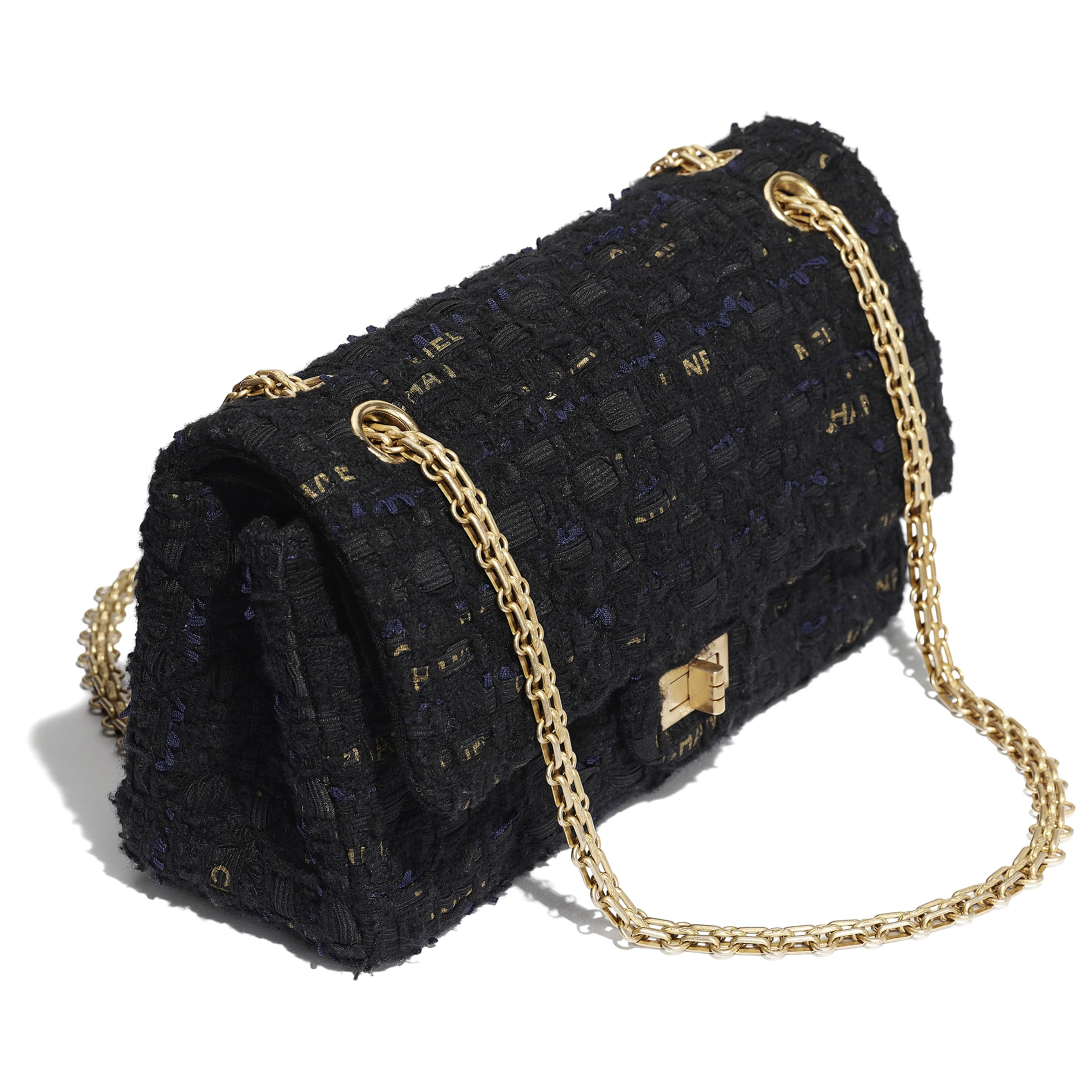 2.55 Handbag - Black, Navy Blue & Gold - Tweed & Gold Metal - CHANEL - Extra view - see standard sized version