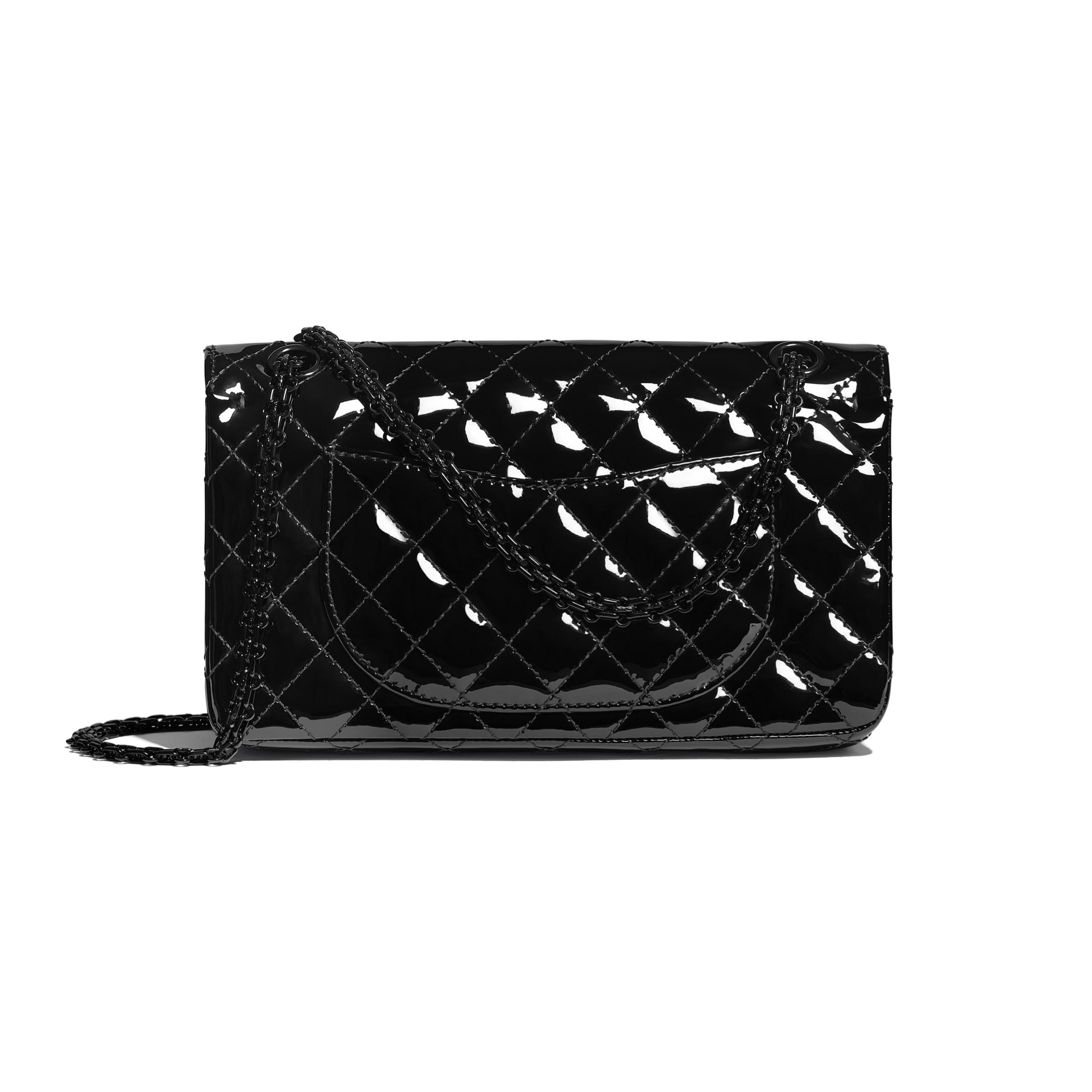 2.55 Handbag - Black - Patent Calfskin & Black Metal - CHANEL - Alternative view - see standard sized version