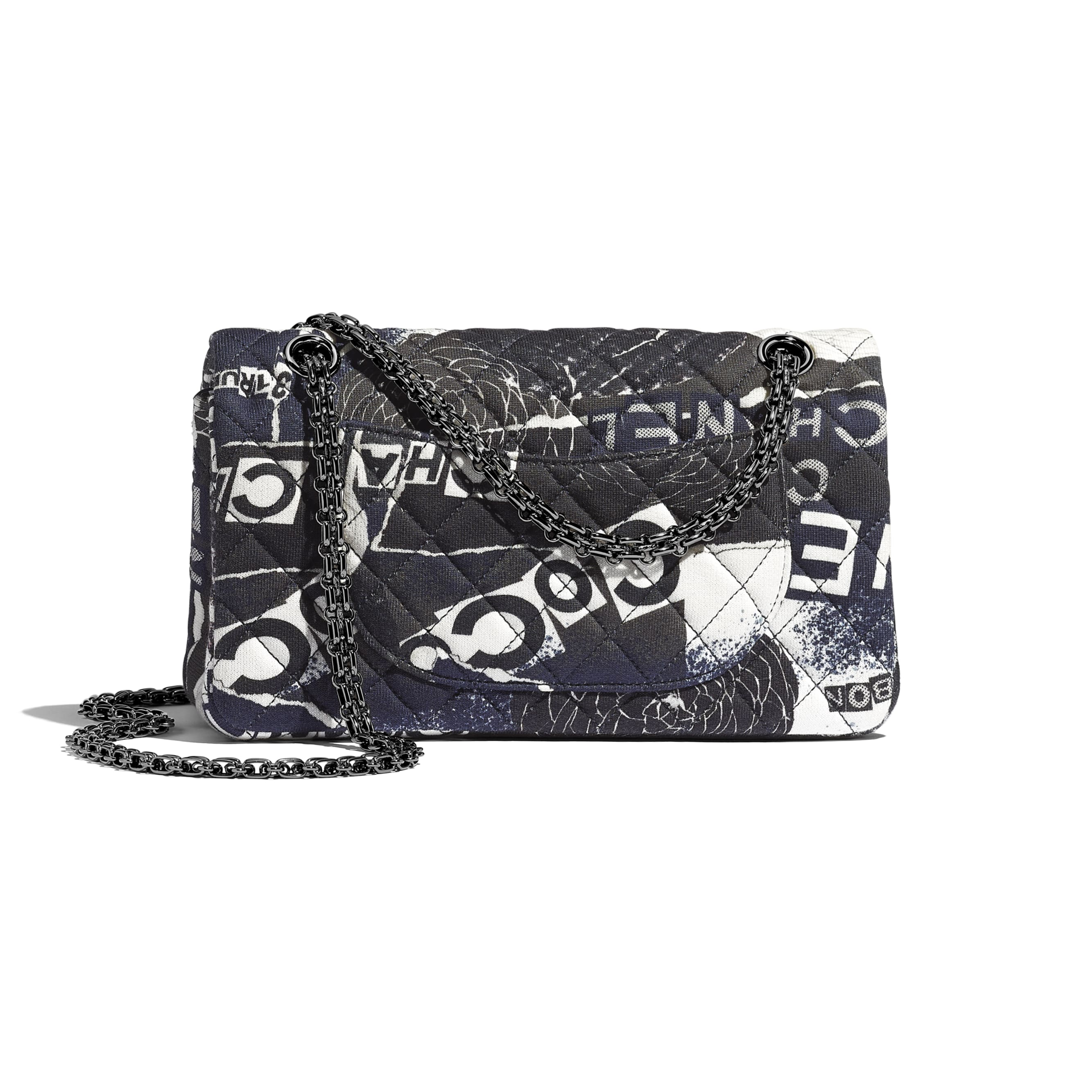 2.55 Handbag - Black & White - Printed Cotton & Ruthenium-Finish Metal - CHANEL - Alternative view - see standard sized version