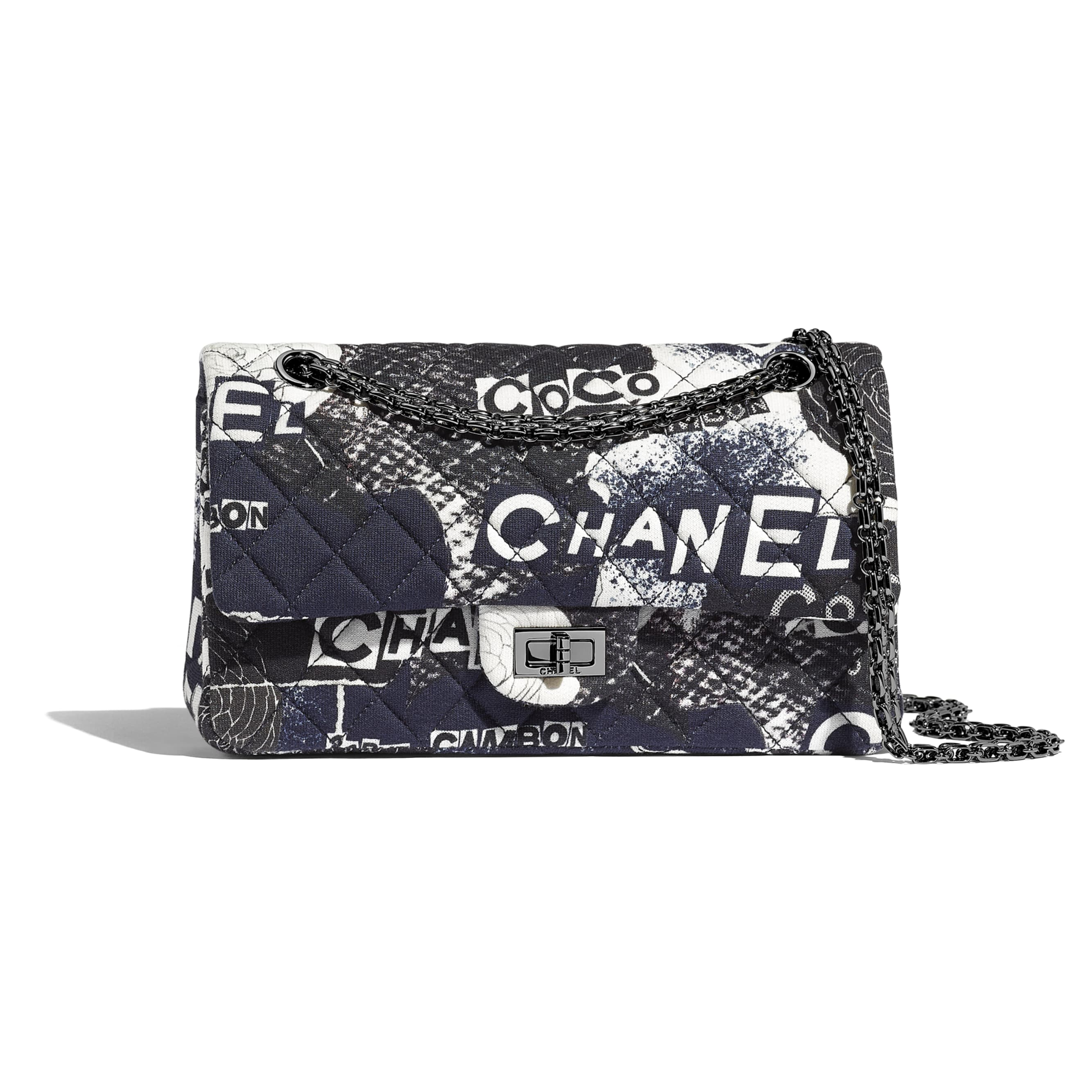 2.55 Handbag - Black & White - Printed Cotton & Ruthenium-Finish Metal - CHANEL - Default view - see standard sized version