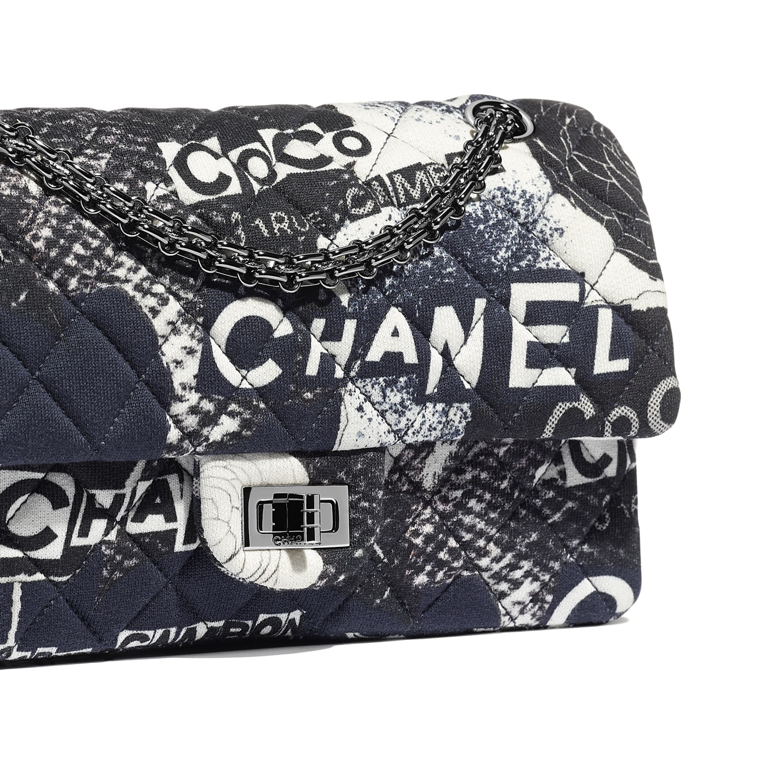 2.55 Handbag - Black & White - Printed Cotton & Ruthenium-Finish Metal - CHANEL - Extra view - see standard sized version