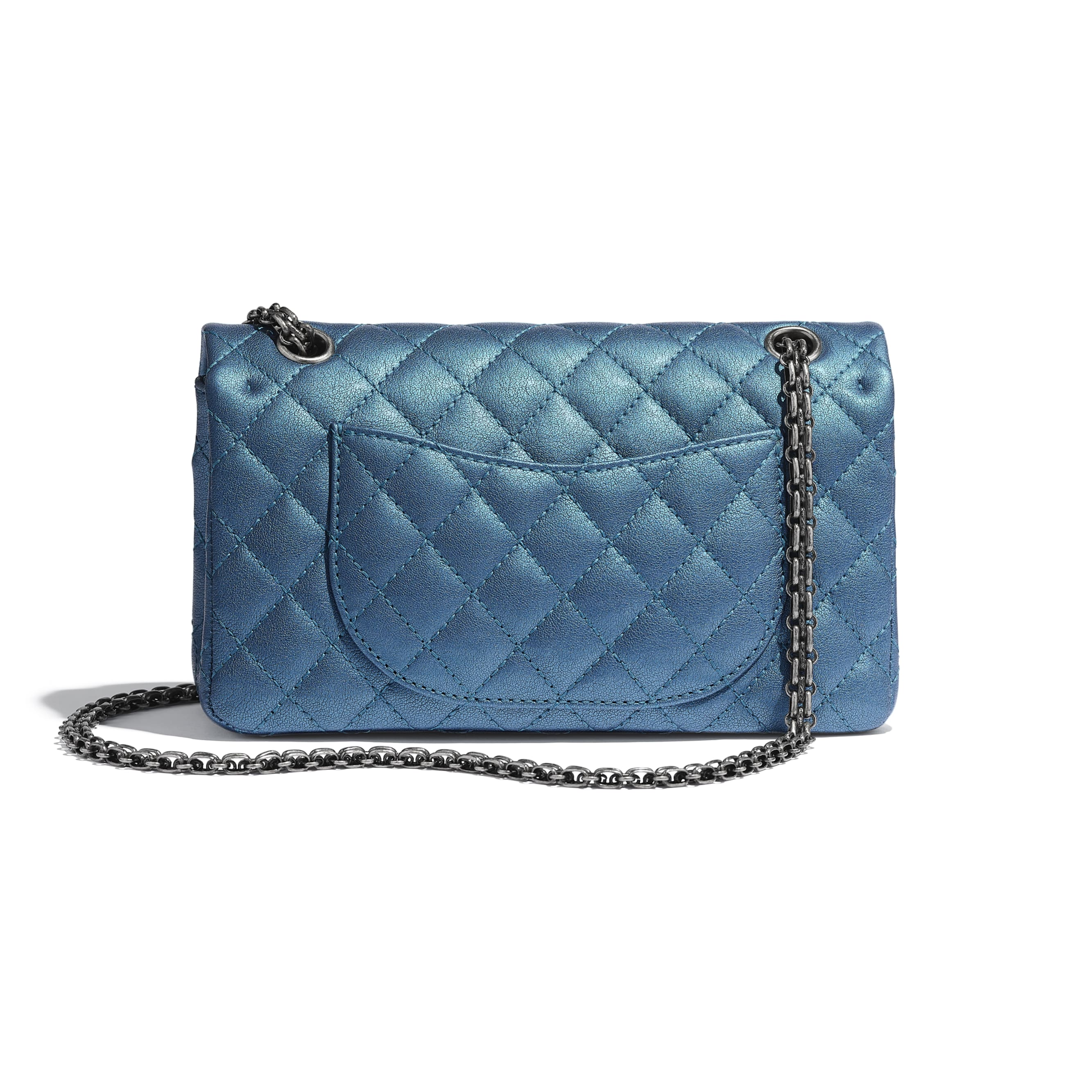 2.55 Handbag - Blue - Metallic Sheepskin & Ruthenium-Finish Metal - Alternative view - see standard sized version