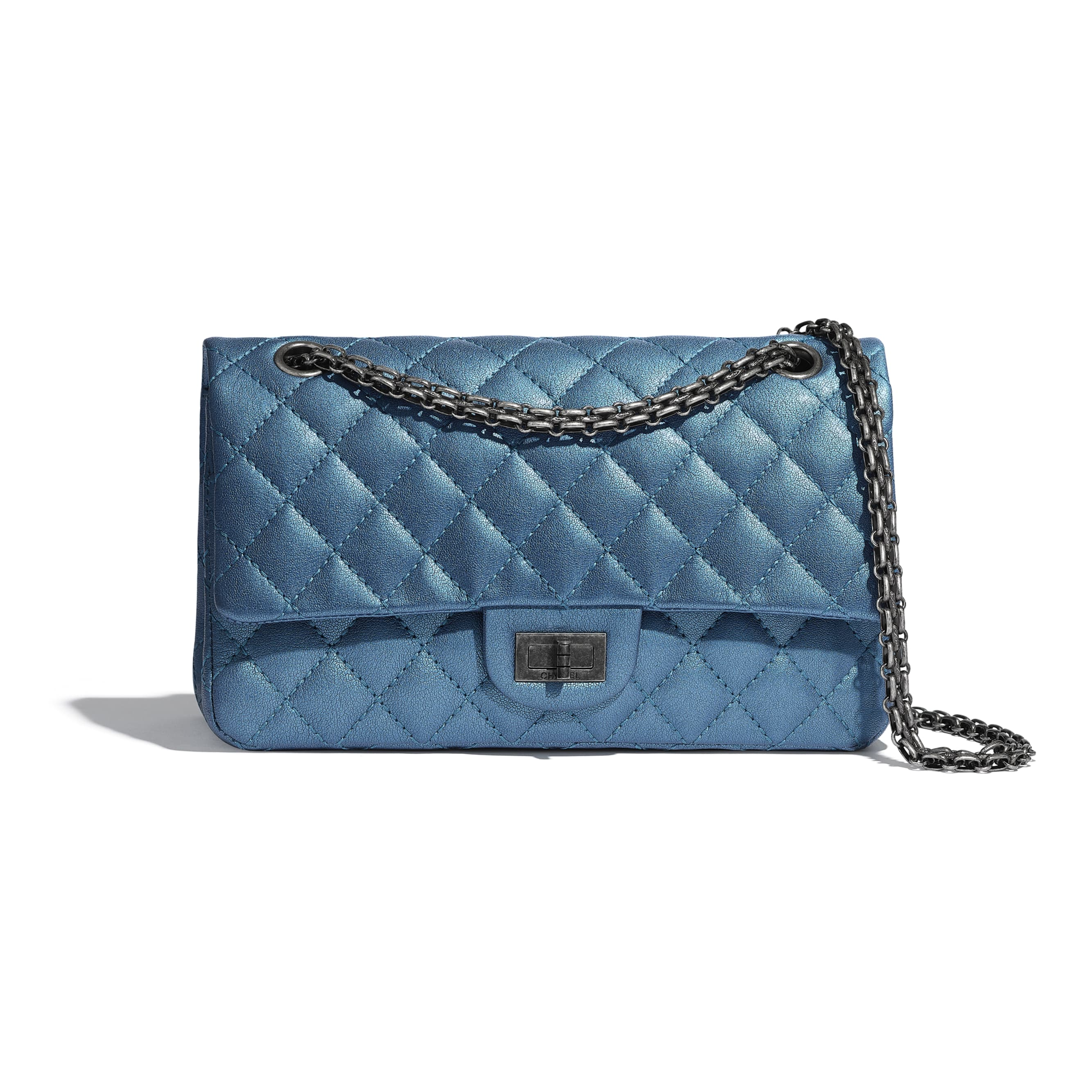 2.55 Handbag - Blue - Metallic Sheepskin & Ruthenium-Finish Metal - Default view - see standard sized version